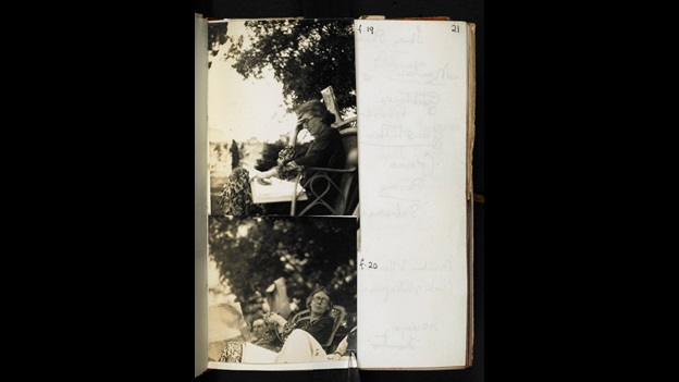 Journal of Lady Ottoline Morrell with photos of Virginia Woolf. Estate of Lady Ottoline Morrell under a Creative Commons non-commercial licence