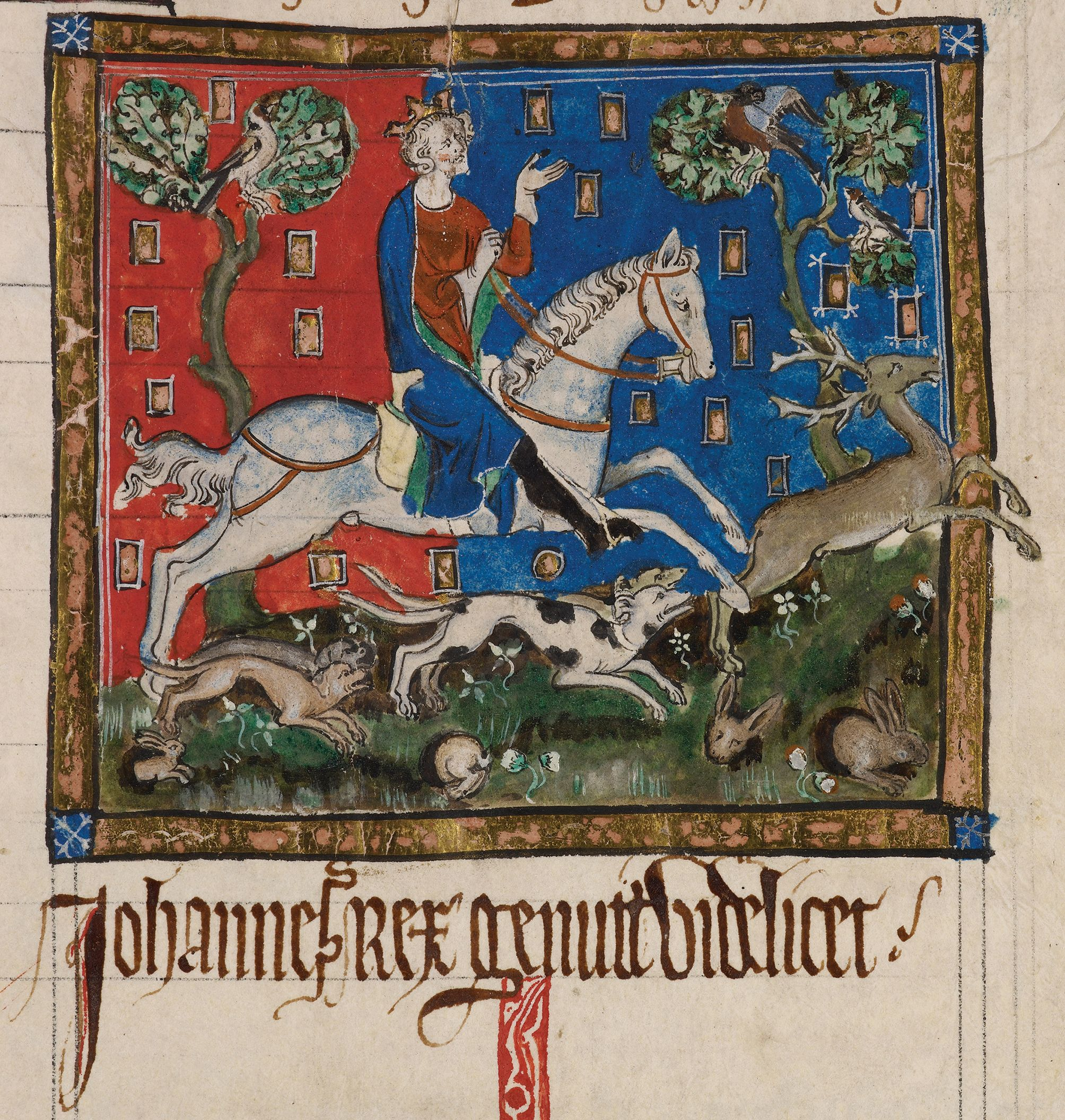 Miniature of King John hunting, in a manuscript of the Liber legume antiquorum regum, C14, on display in Magna Carta: Law, Liberty, Legacy. Photography © British Library