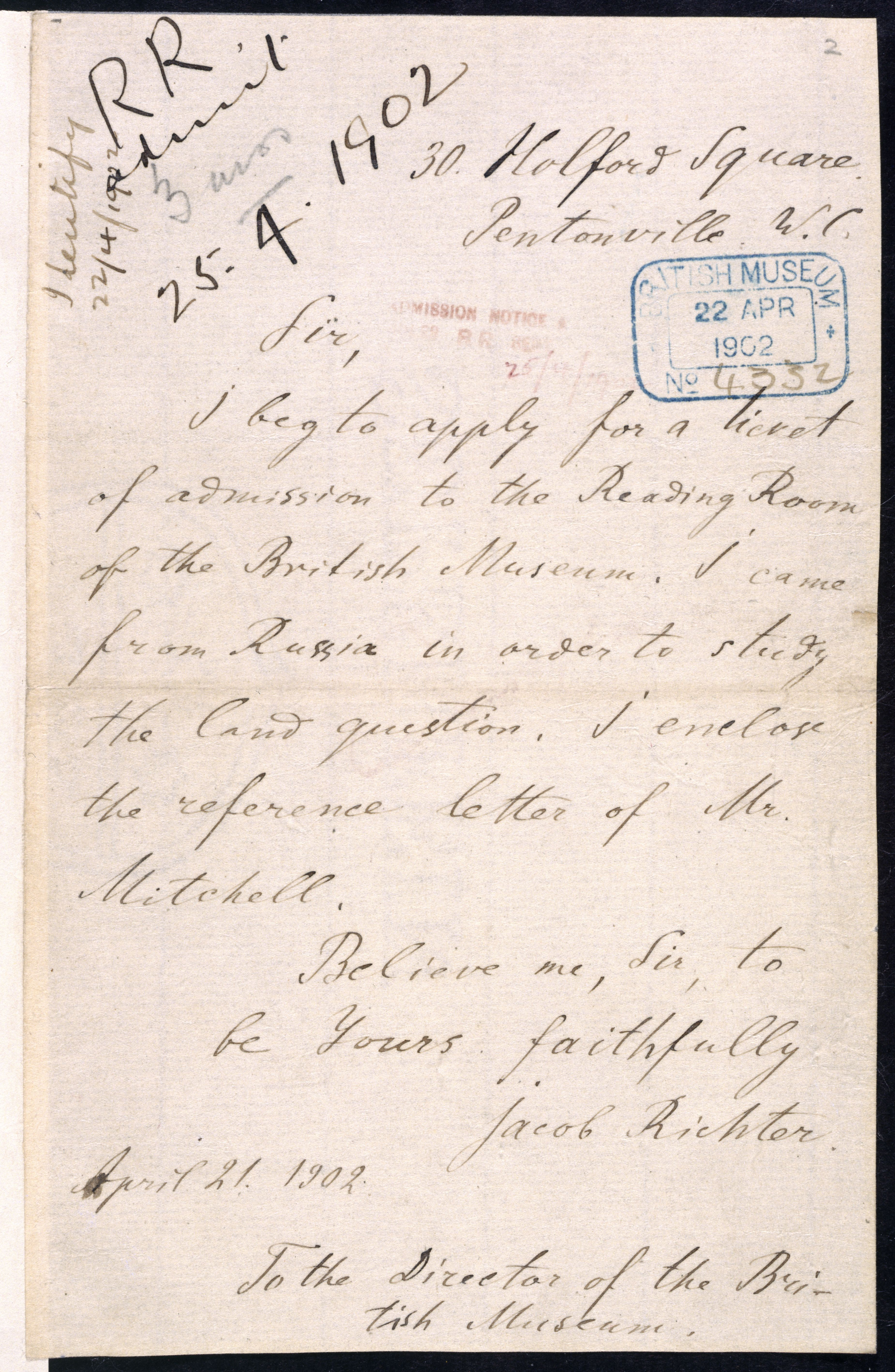 Letter from Vladimir Lenin requesting the use of the Reading Room at the British Museum (now British Library) copyright British Library