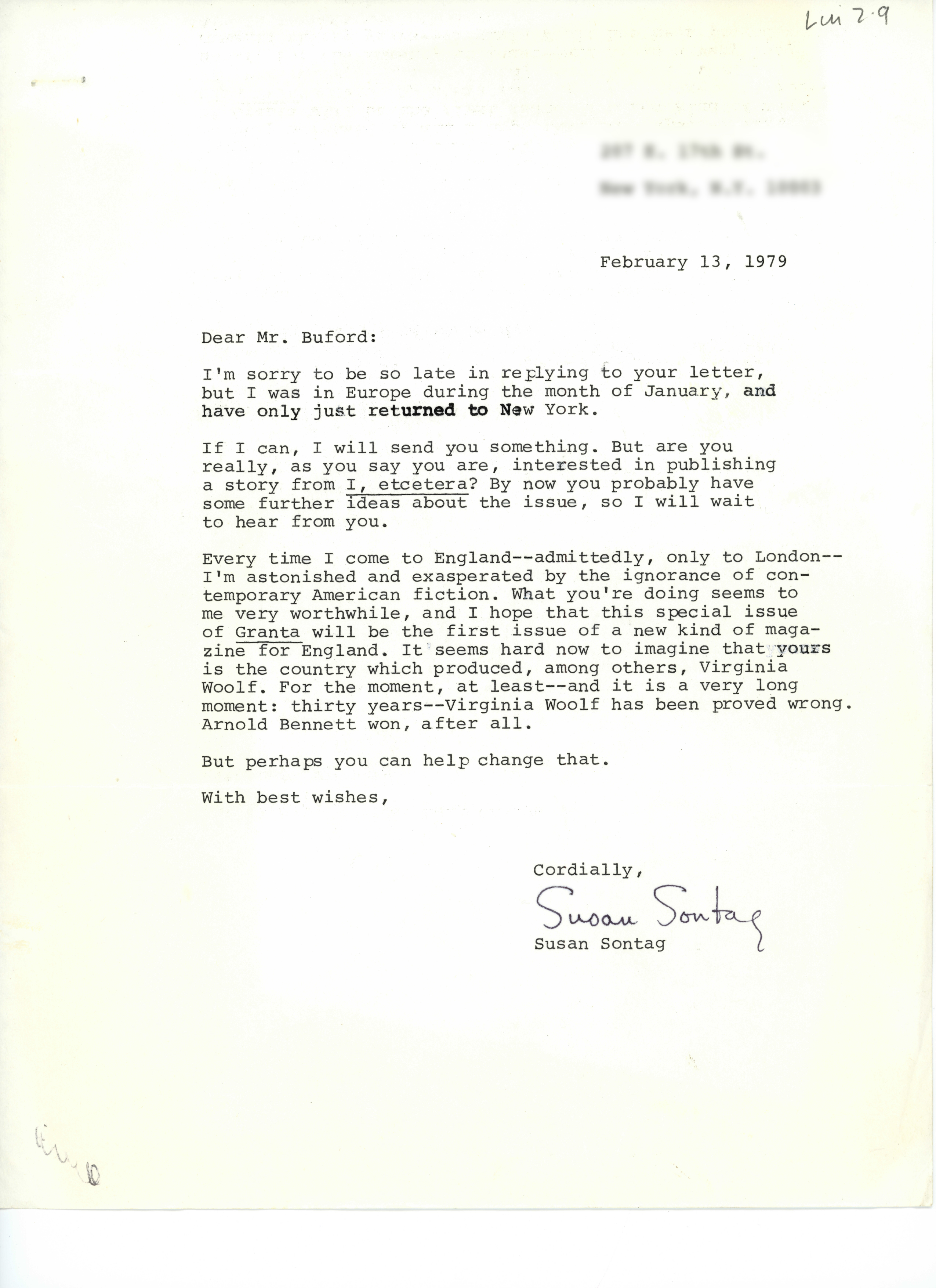 Letter to Granta by Susan Sontag © 1979, The Estate of Susan Sontag