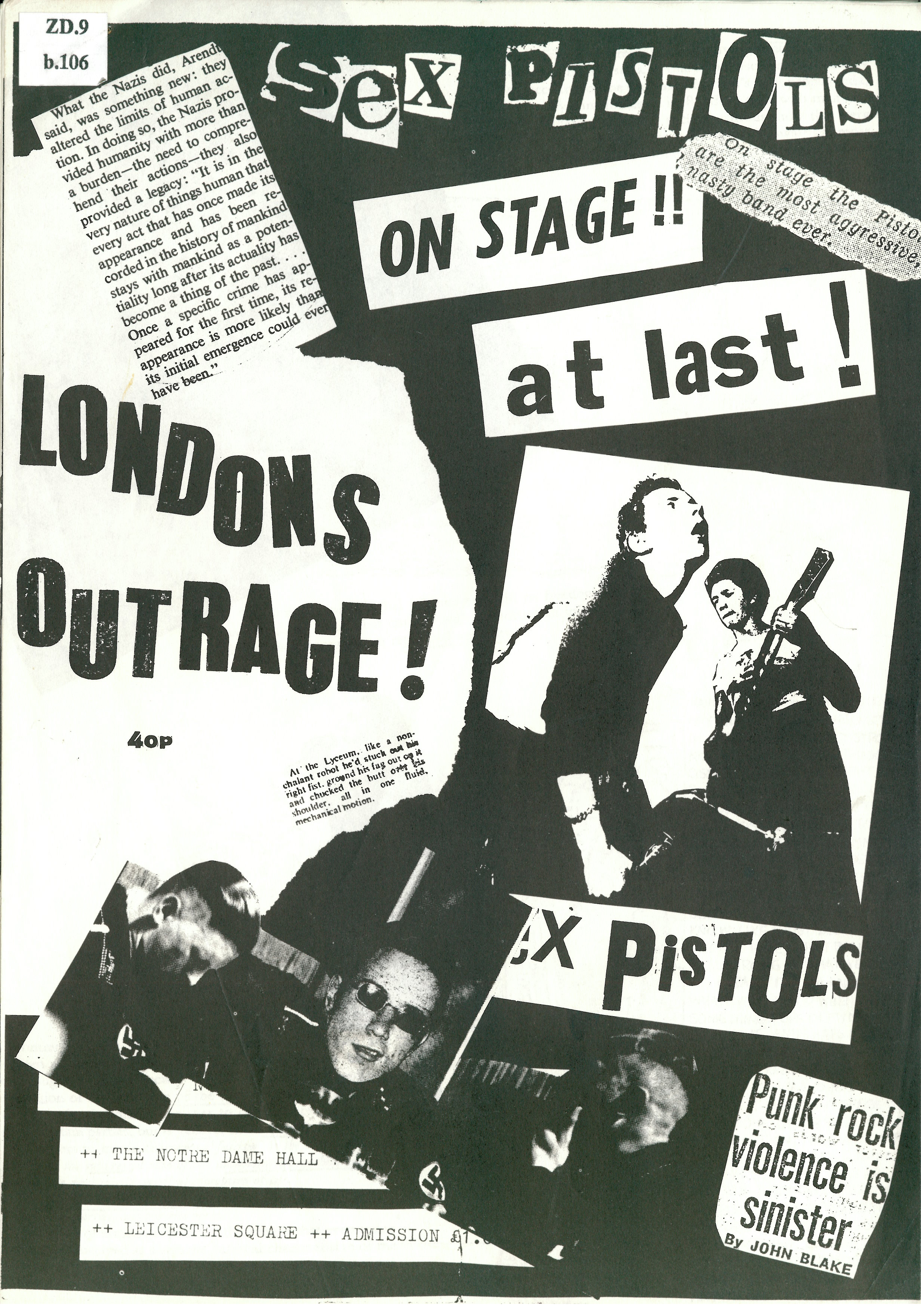 London's Outrage fanzine (December 1976) by Jon Savage on display at Punk 1976-78 at the British Library