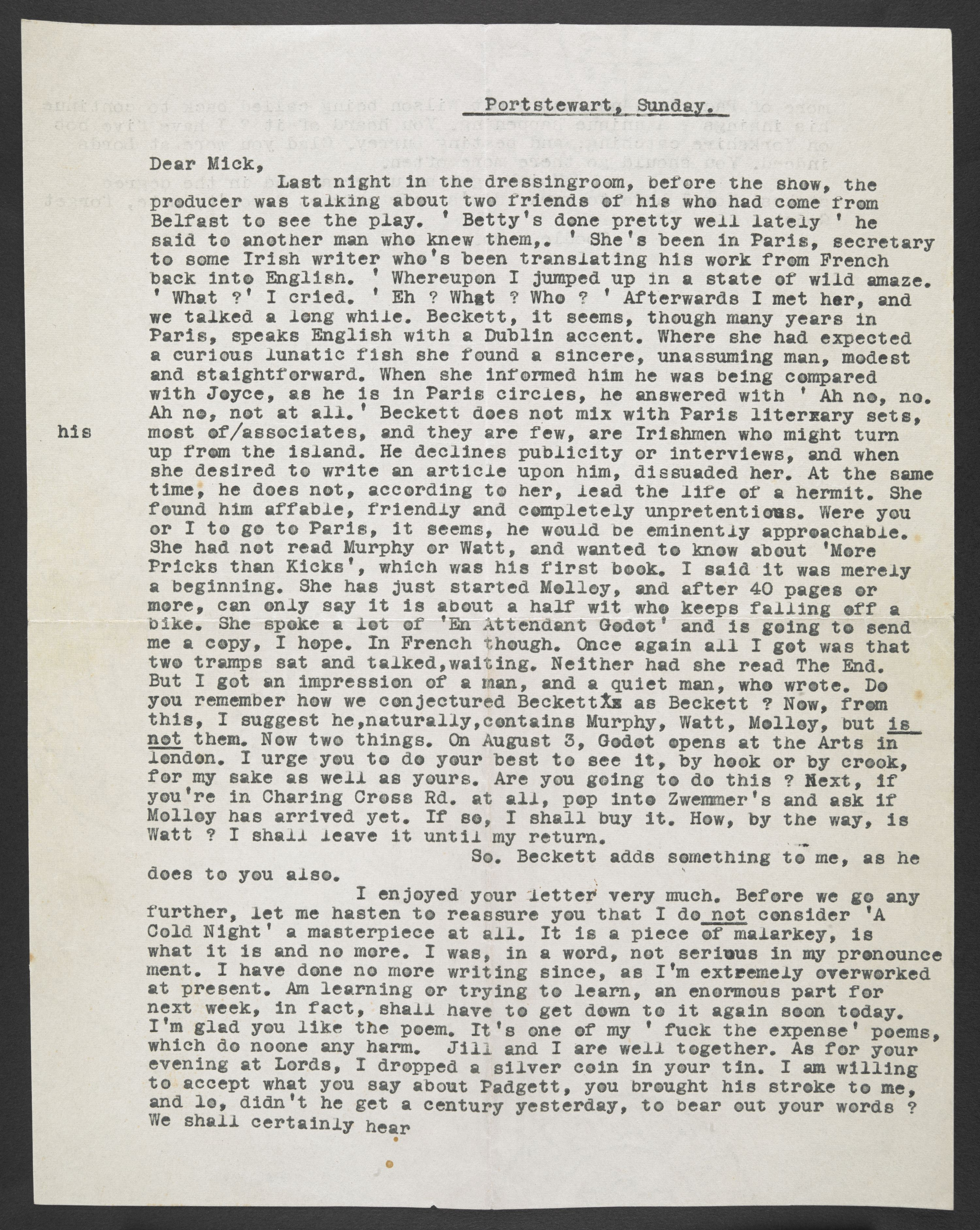 Letter from Harold Pinter to his friend in 1955 acquired by the British Library. Courtesy of the Estate of Harold Pinter