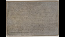 Magna Carta, London copy, 1215, on display in Magna Carta: Law, Liberty, Legacy. Photography © British Library