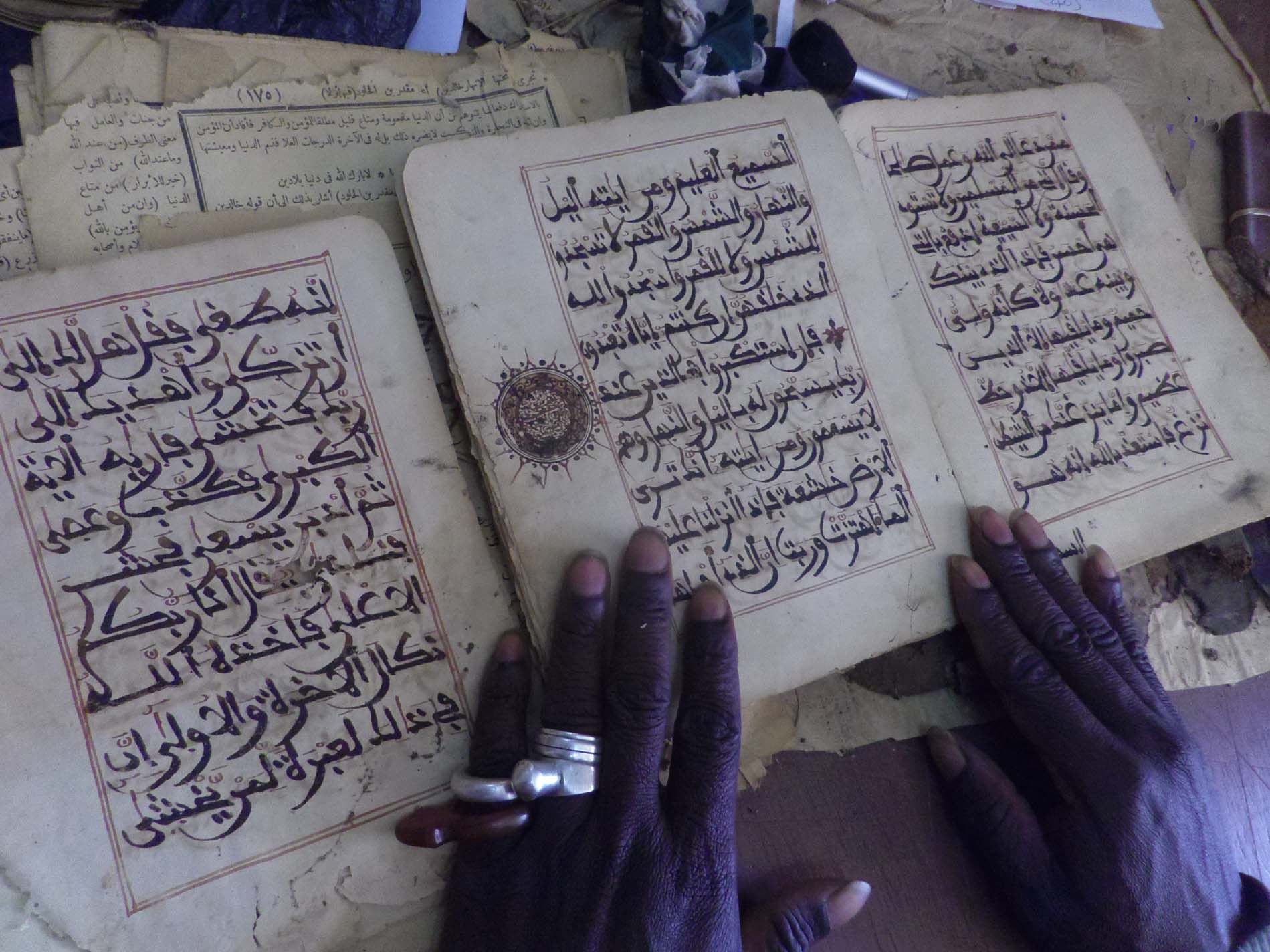 A new manuscript arrives at Djenne public library. Endangered Archives Programme. Photography (c) Sophie Sarin