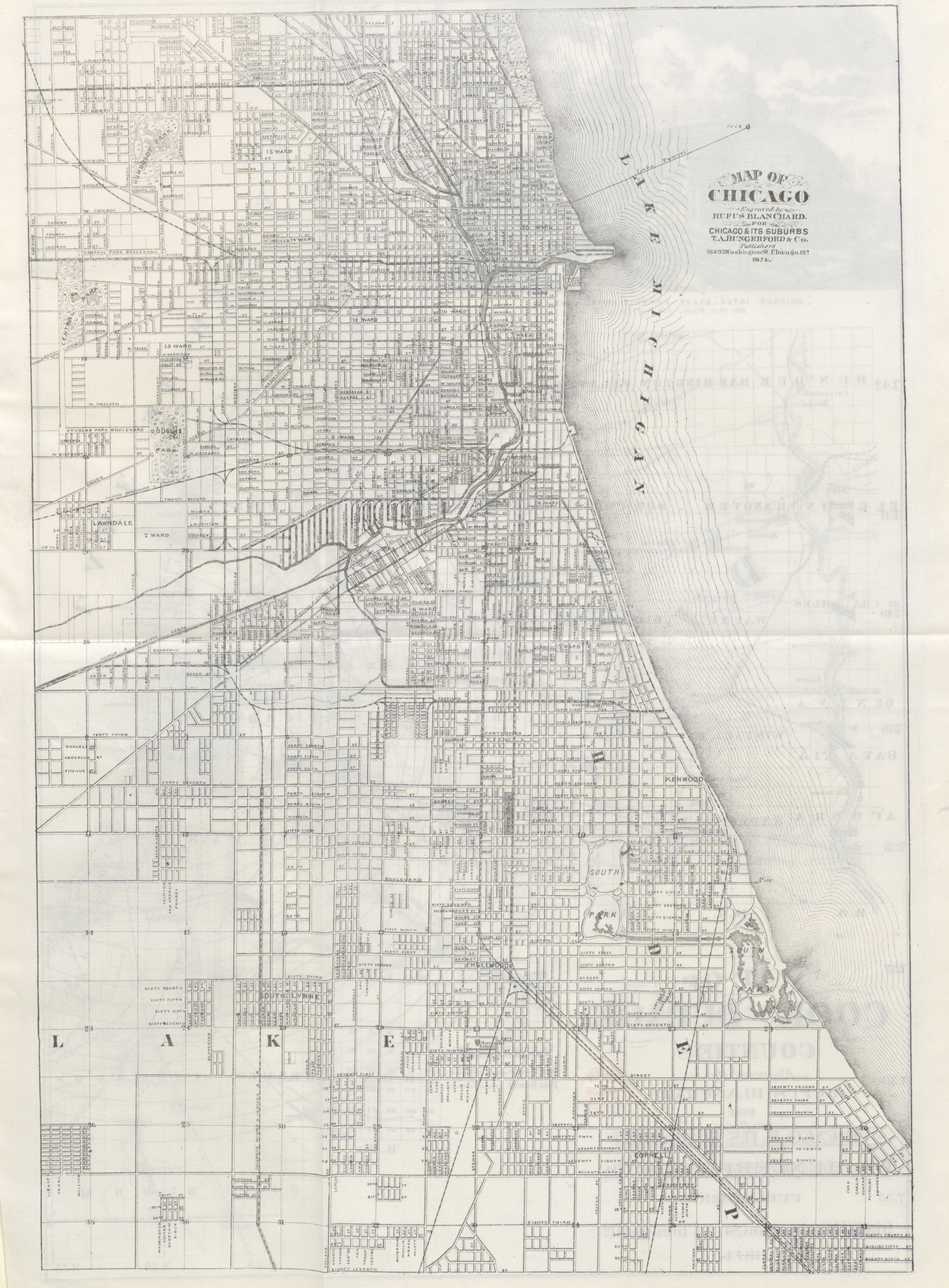 'Map of Chicago' from 'Chicago and its Suburbs', 1874 (c) British Library Board