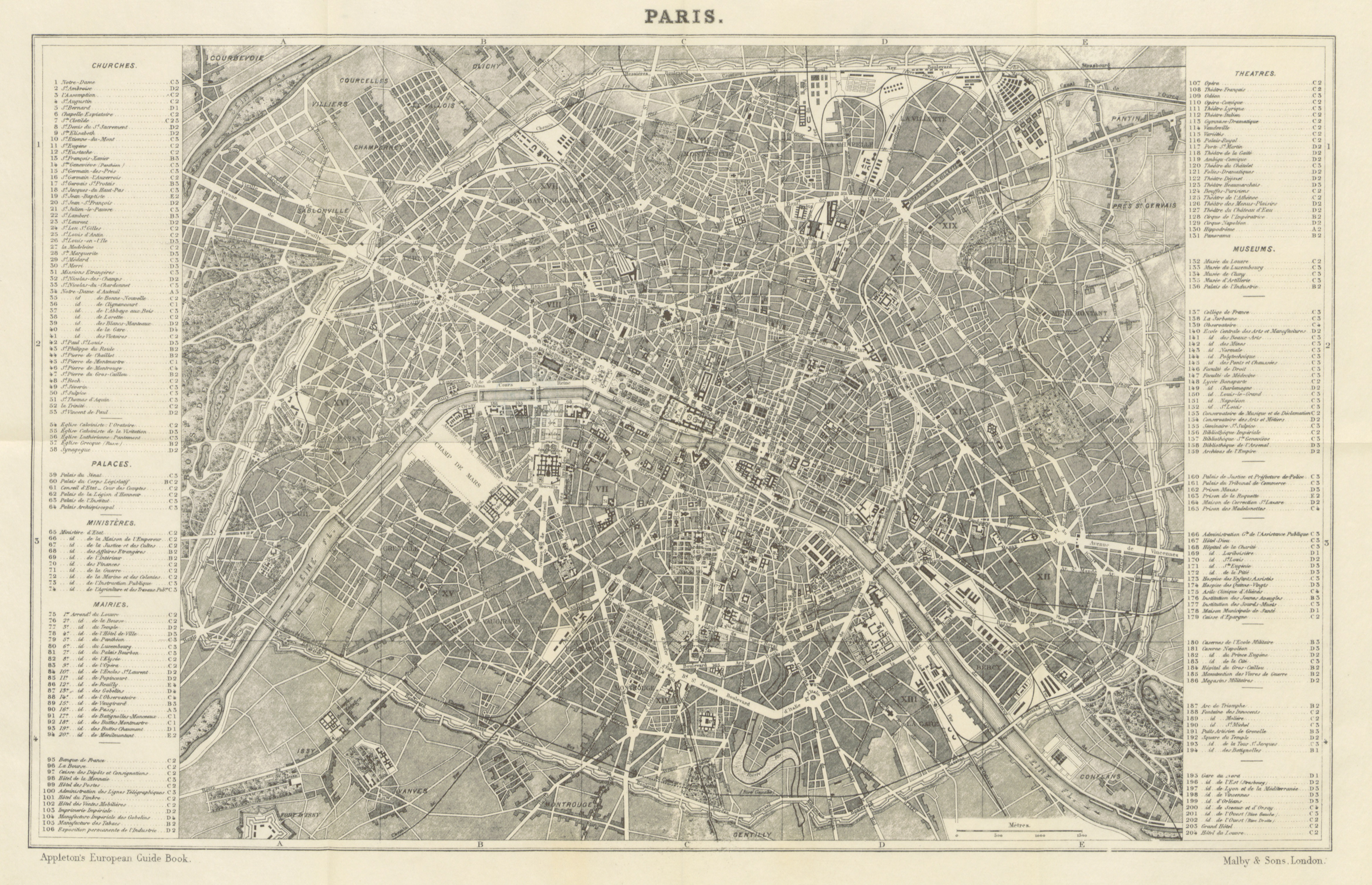 Map of Paris from 'Appleton's European Guide Book Illustrated', 1872. Open Licence (CC-PD)