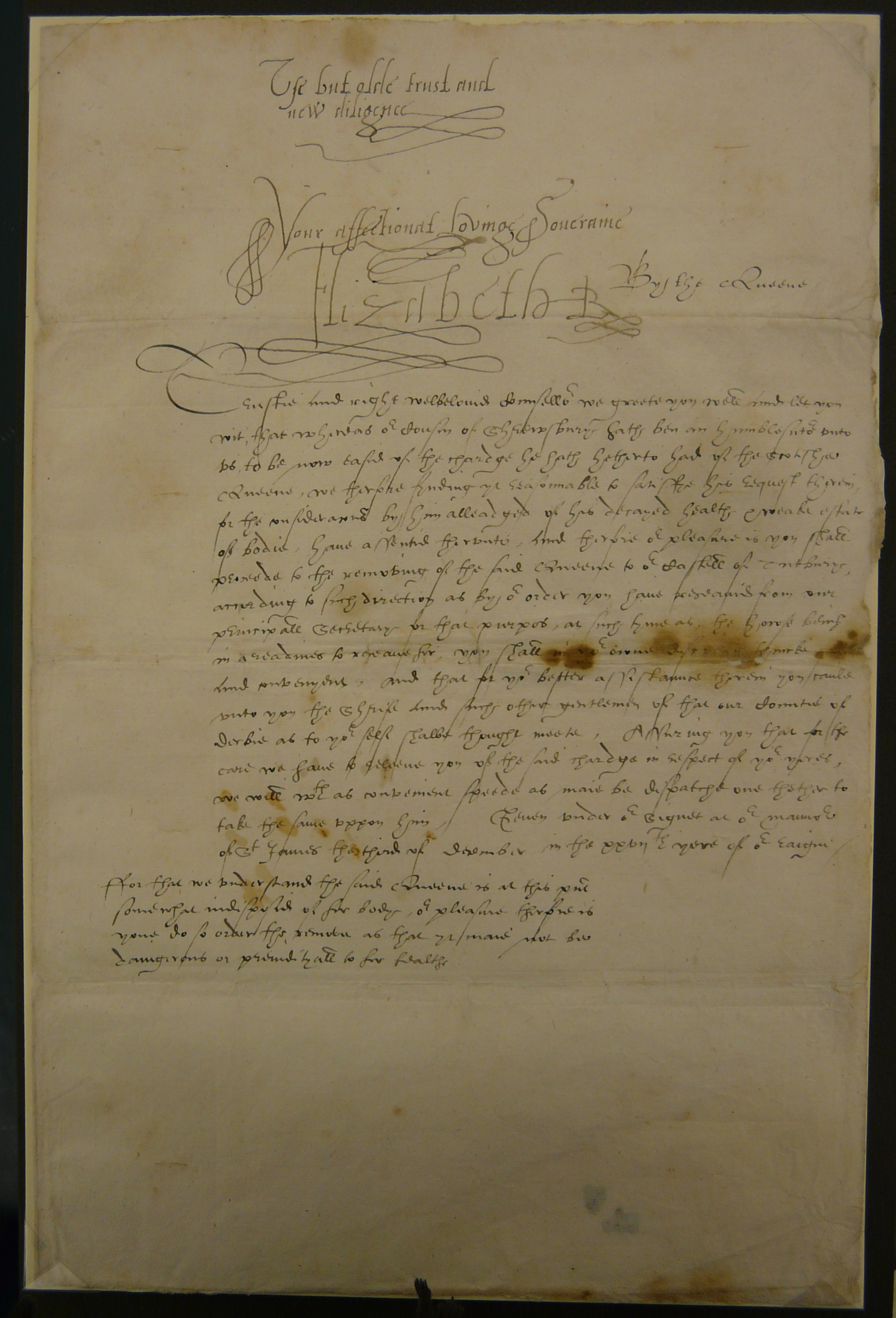Letter from Elizabeth I to Ralph Sadler, 3 December 1584.