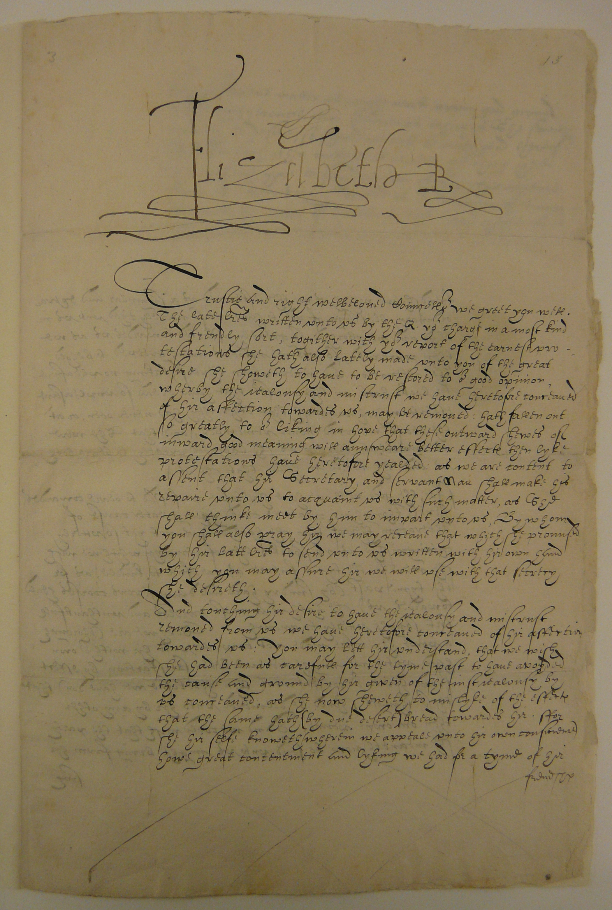 Letter from Elizabeth I to Ralph Sadler, 31 October 1584.