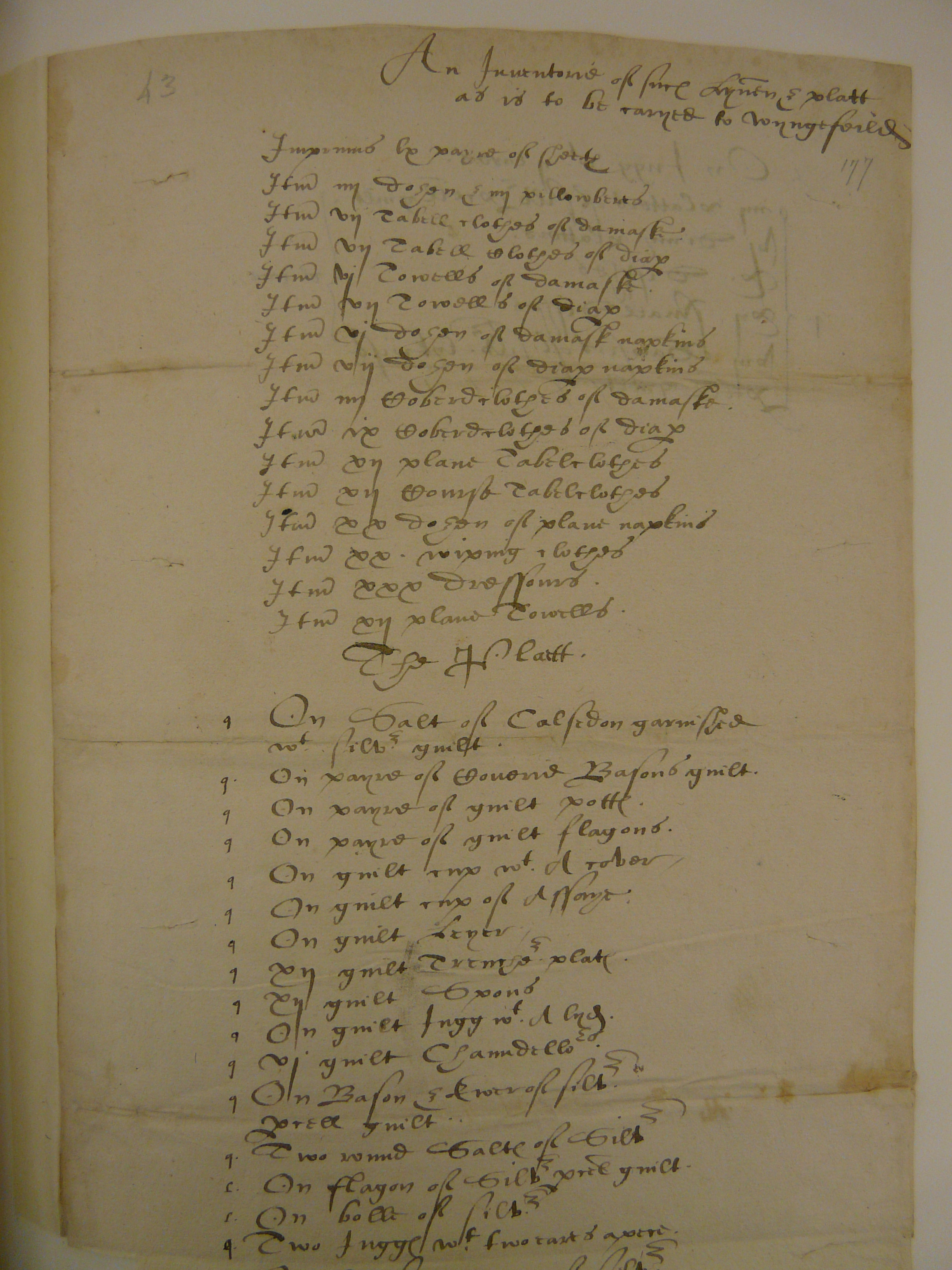 Inventory of linen and plate sent to Tutbury Castle for Mary, Queen of Scots.
