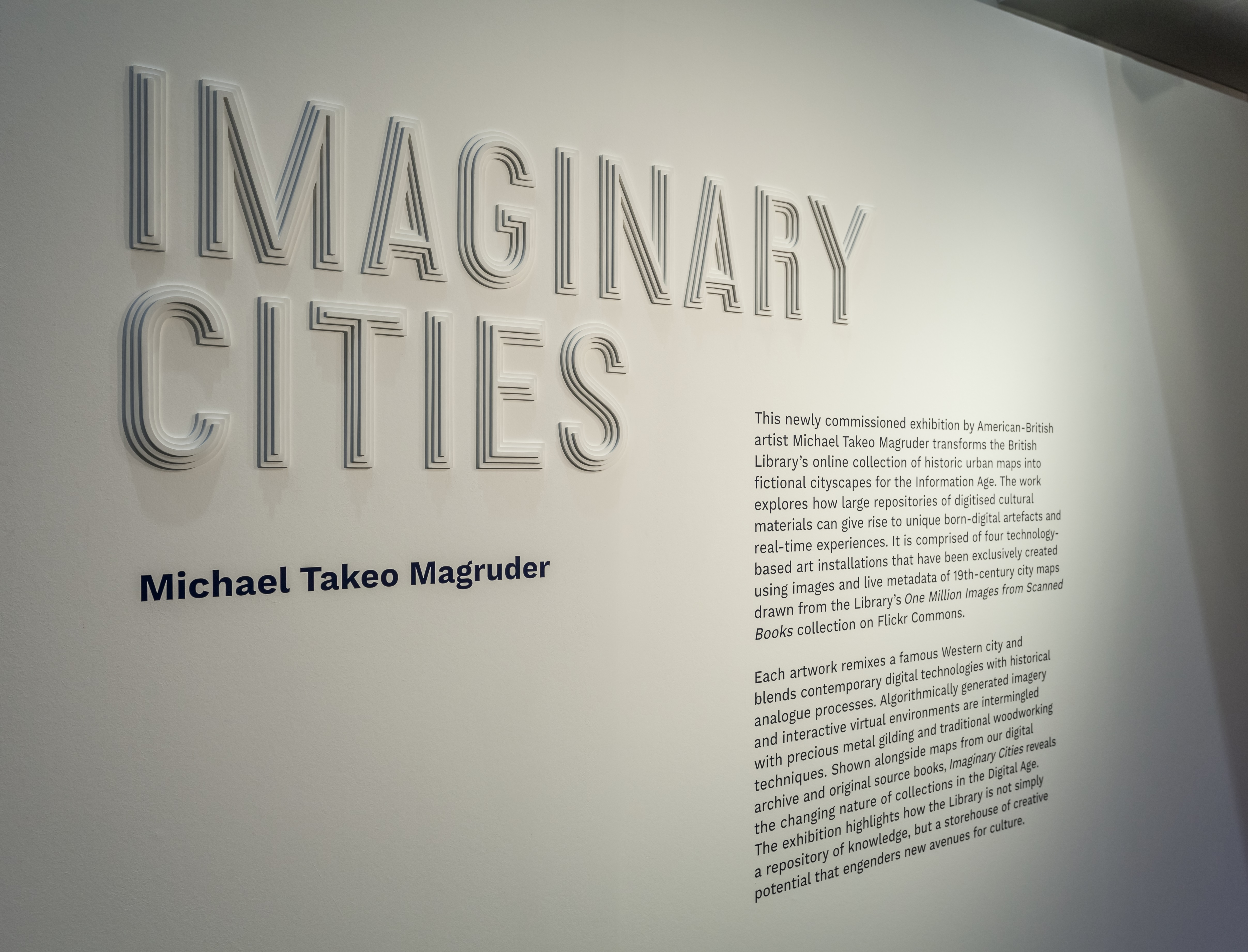 Michael Takeo Magruder, Imaginary Cities at the British Library, 2019. Photographs by David Steele (c) Michael Takeo Magruder