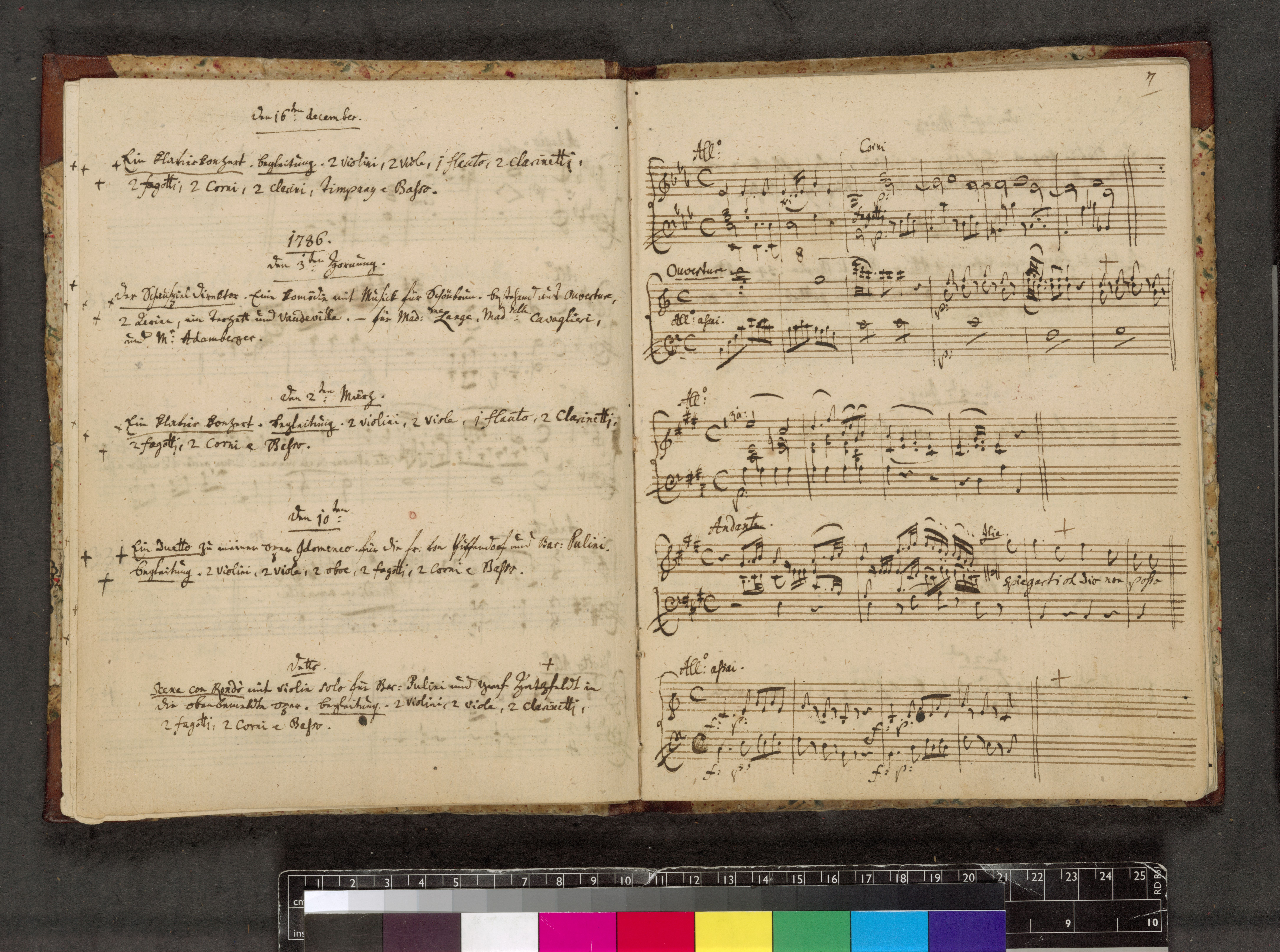 Mozart's catalogue of his complete musical works from 1784-1791, featuring his handwriting and musical notation (c) British Library