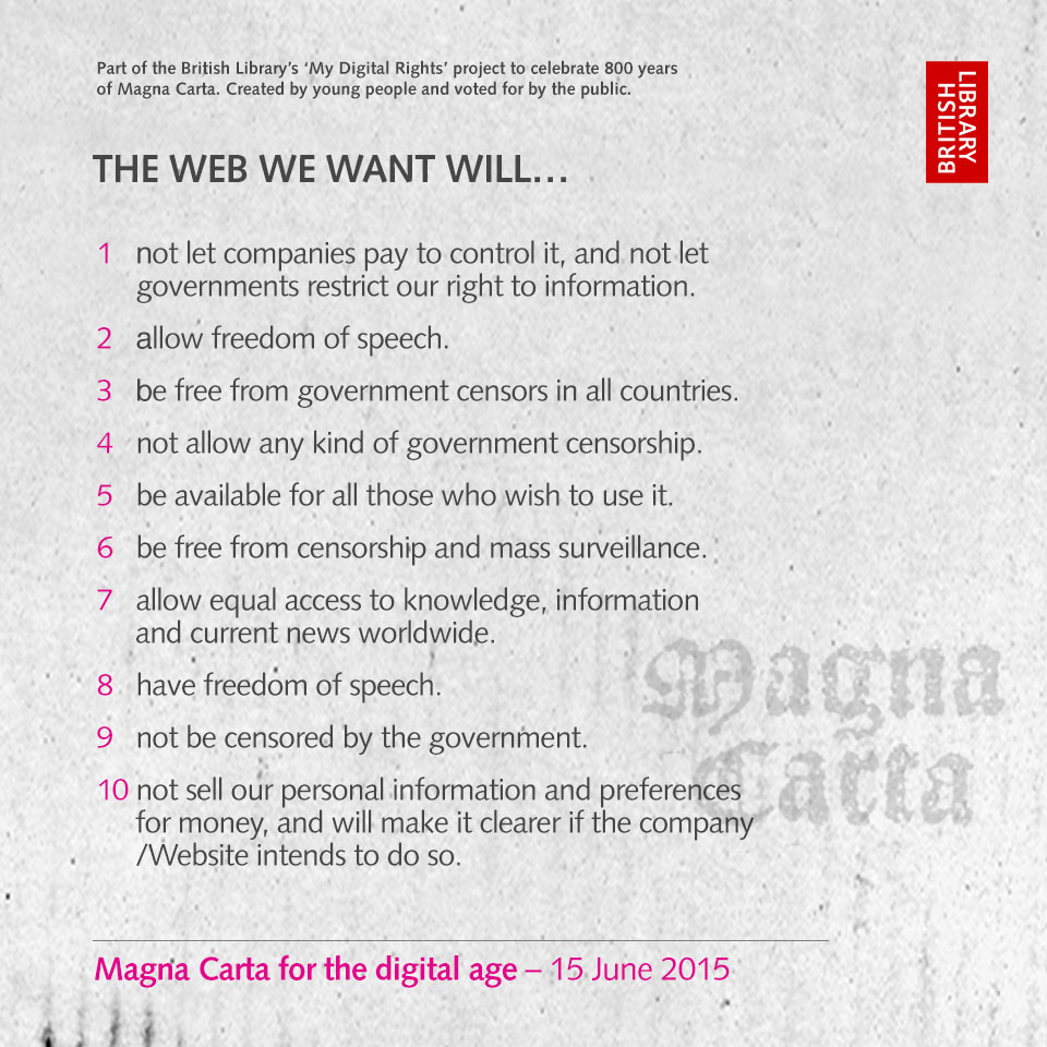 Top 10 clauses for a Magna Carta for the digital age as voted for by the public.