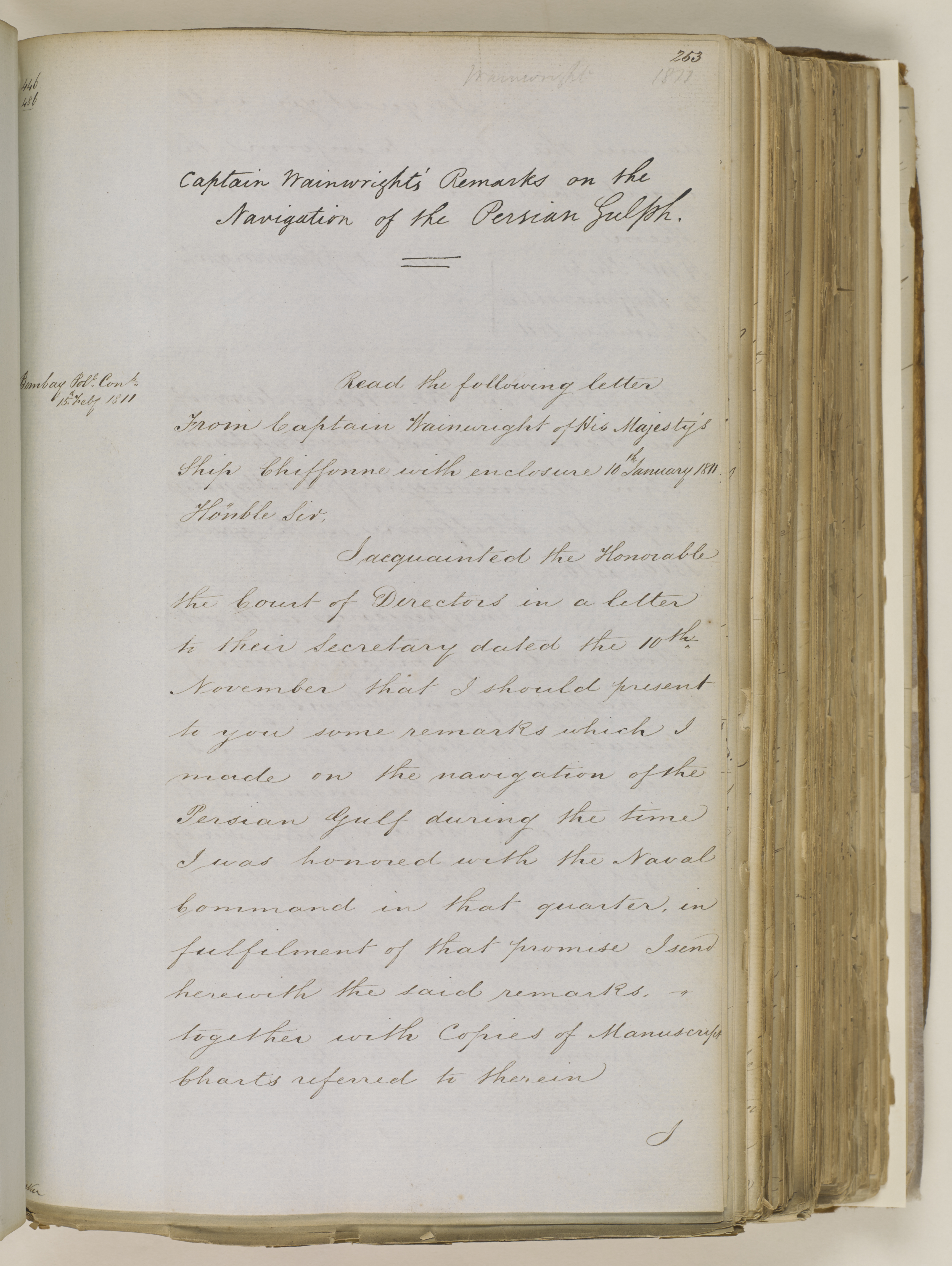 Marine Miscellaneous Records: 'Captain Wainwright's Remarks on the Navigation of the Persian Gulph' (1811) (IOR/L/MAR/C570)