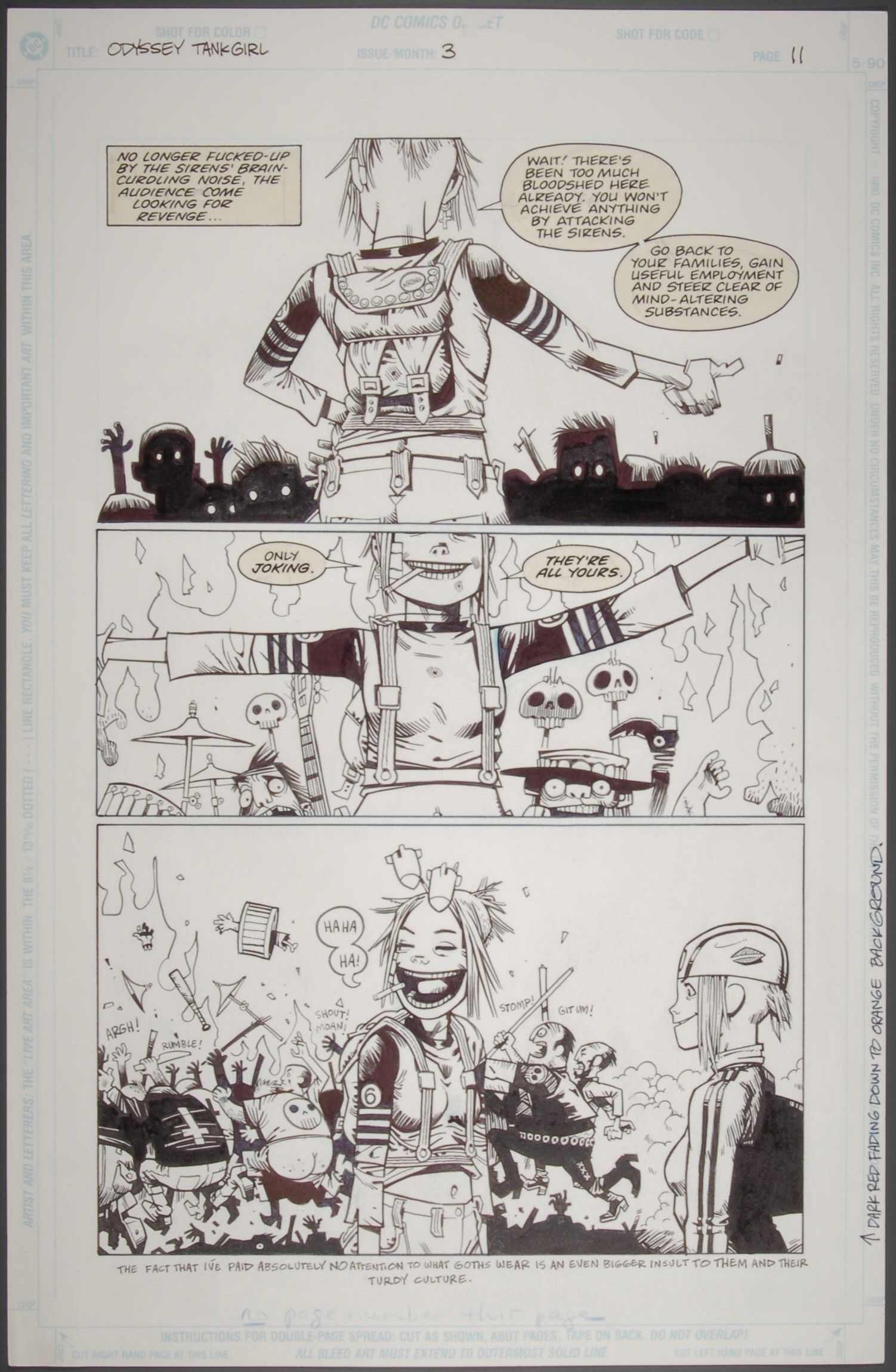 Original Artwork For Tank Girl 1995 On Display In Comics Unmasked C Jamie Hewlitt