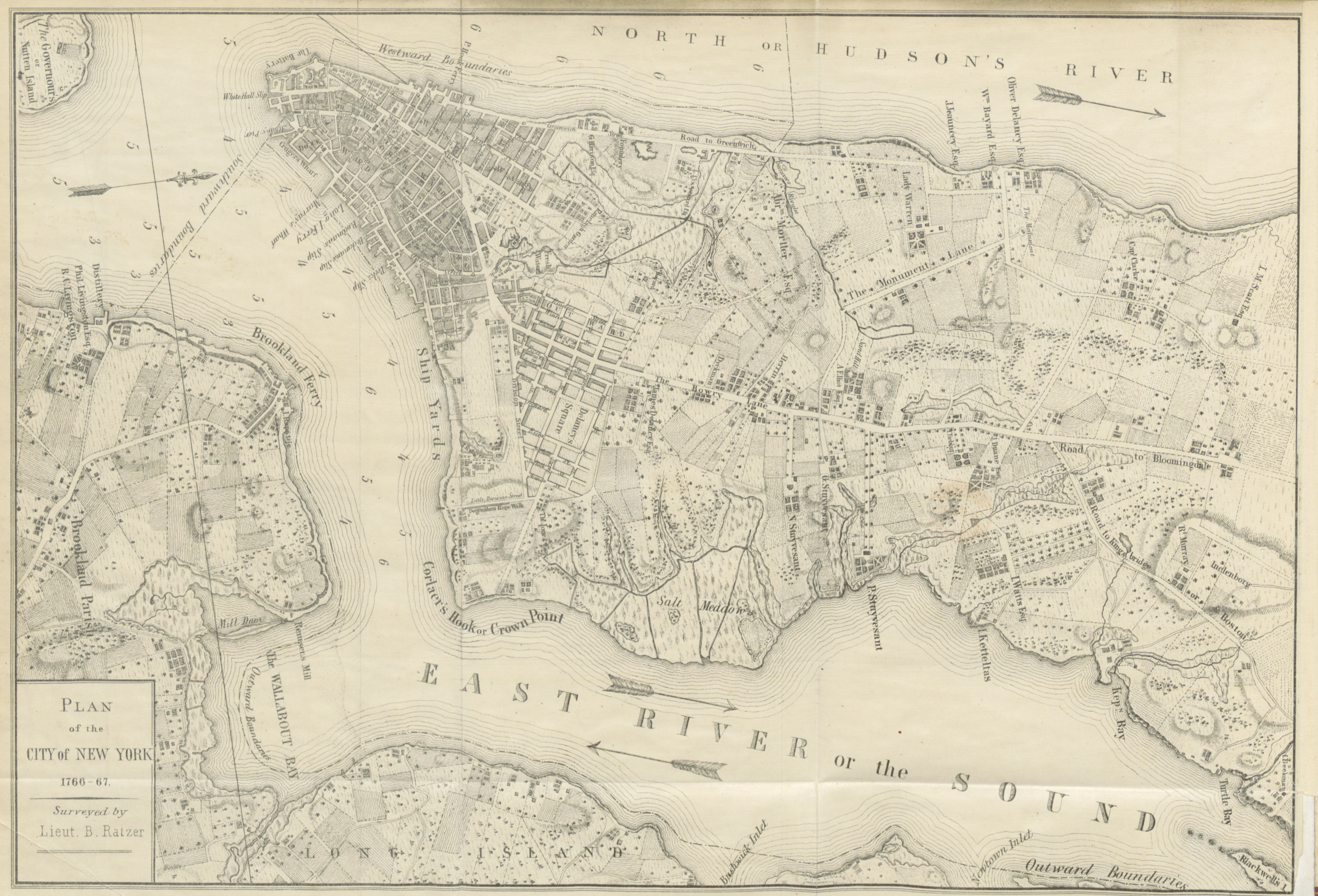 'Plan of the City of New York, 1766-77' from 'New York City during the American Revolution', 1861 (c) British Library Board
