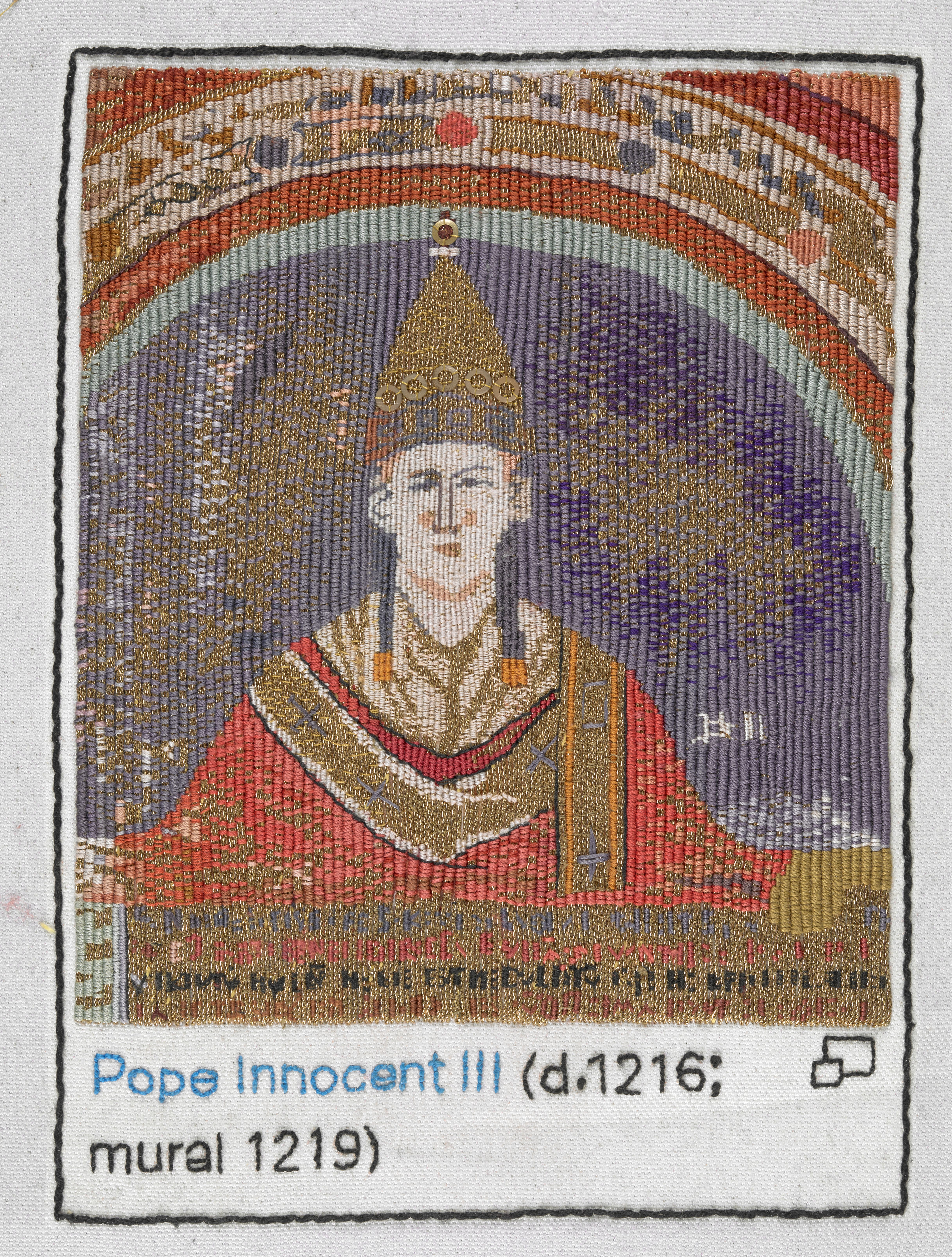 Pope Innocent III stitched by Anthea Godfrey, Embroiderers' Guild (Eastern Region). Part of Cornelia Parker's Magna Carta (An Embroidery) at the British Library. Photography © British Library