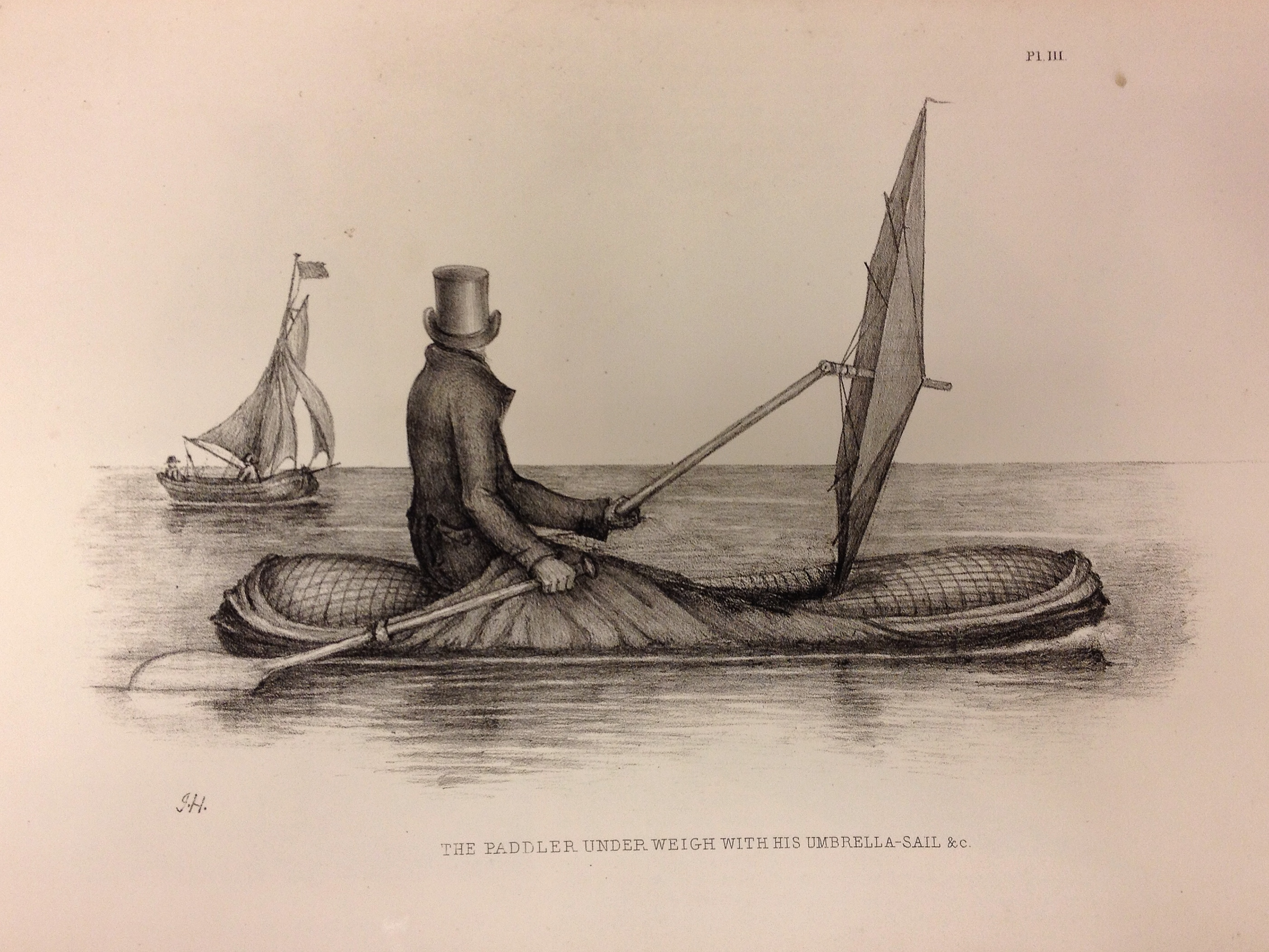 Boat-Cloak or Cloak-Boat, Peter Halkett (1848) on display in Lines in the Ice - this boat, developed in London and tested on the River Thames, was an early inflatable dinghy that doubled as a cloak (with a sail that doubled as an umbrella).