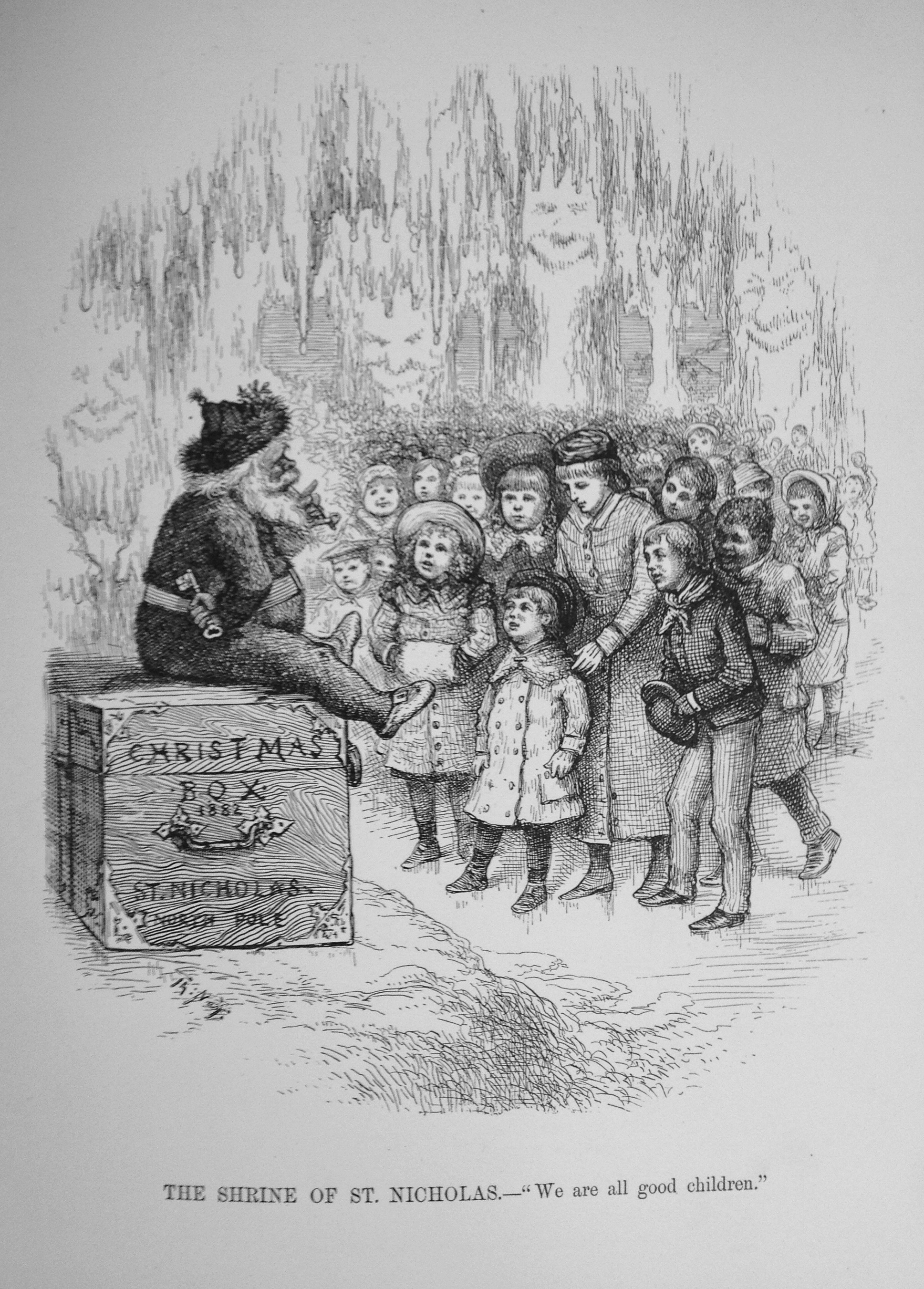 An early illustration of Santa Claus as we now picture him on display in Lines in the Ice. Thomas Nast's Christmas Drawings. London (New York), 1890. Photograph courtesy of the British Library
