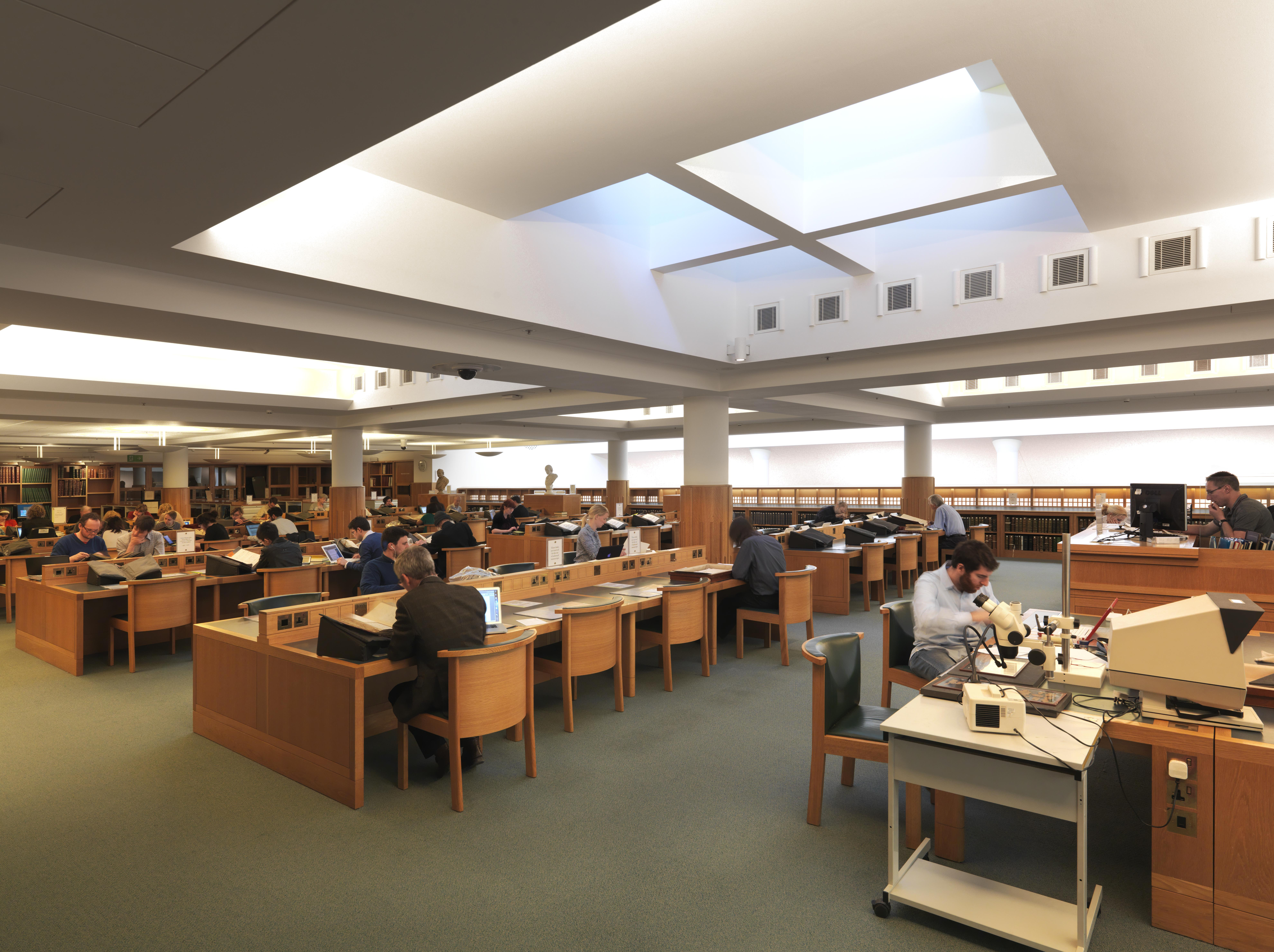 Readers at desks in the Manuscript Reading Room