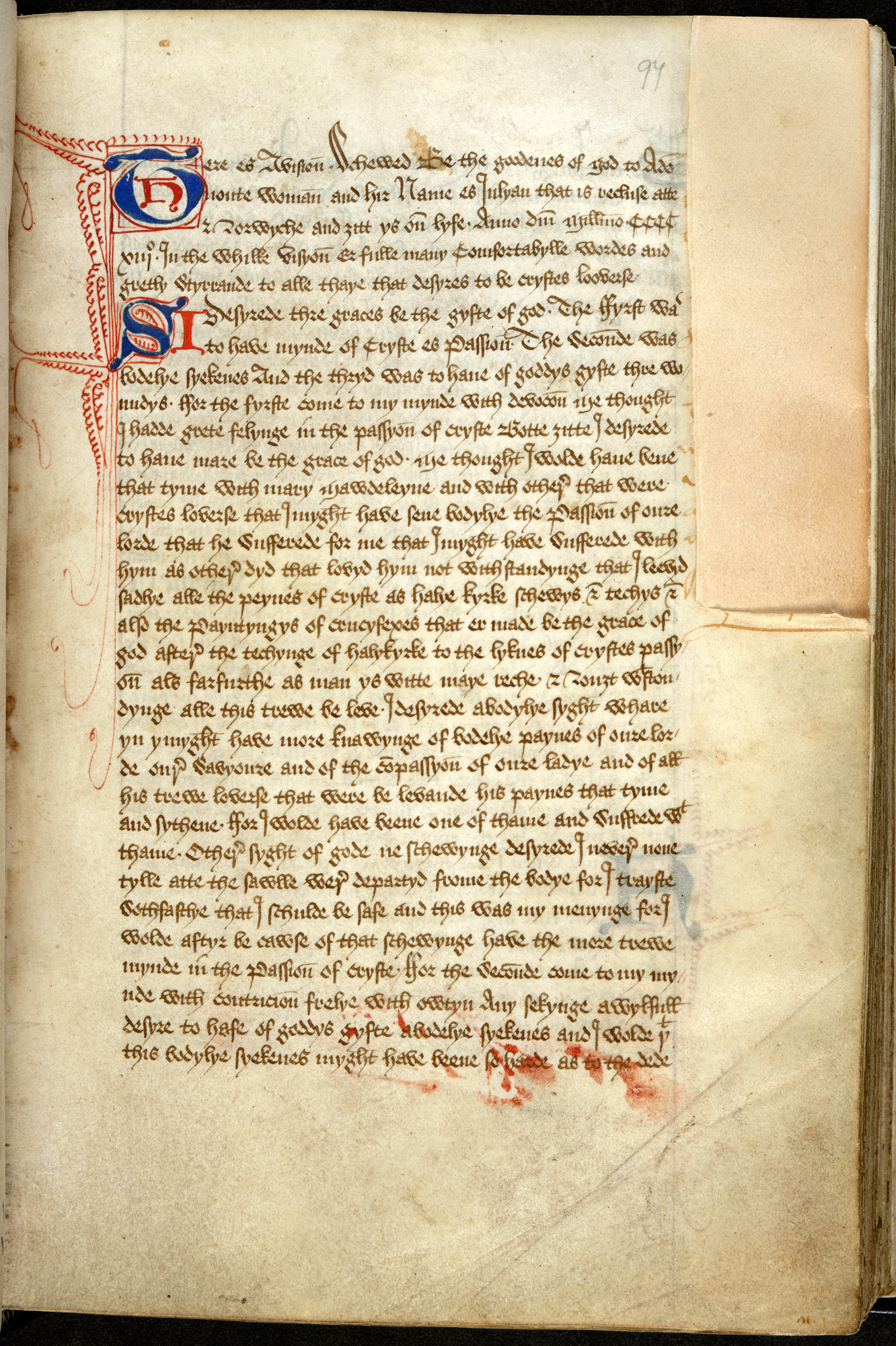 Julian of Norwich's Revelation of Divine Love, the first work in English authored by a woman (Add MS 37 790) (c) British Library Board
