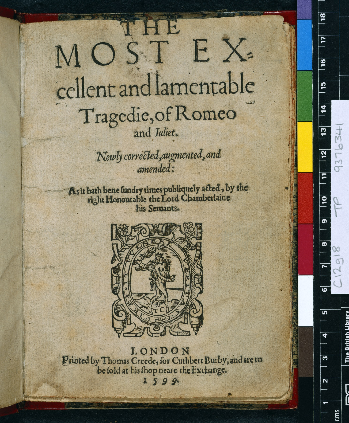 Romeo and Juliet by William Shakespeare. 1599 Quarto edition. British Library C.12.g.18
