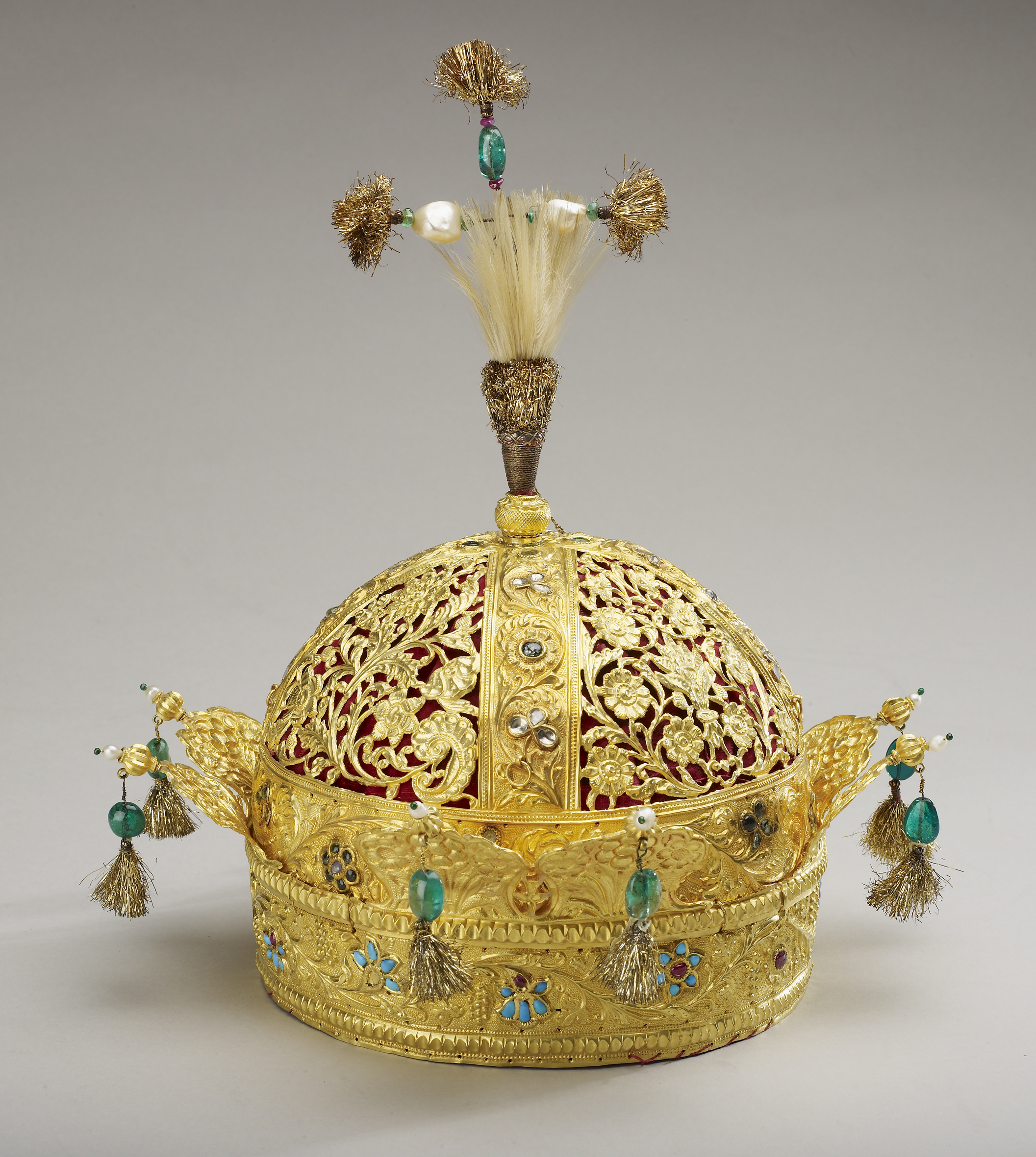 Crown of Emperor Bahadur Shah II mid-19th century on display in Mughal India on loan from the Royal Collection Trust Her Majesty Queen Elizabeth II 2012