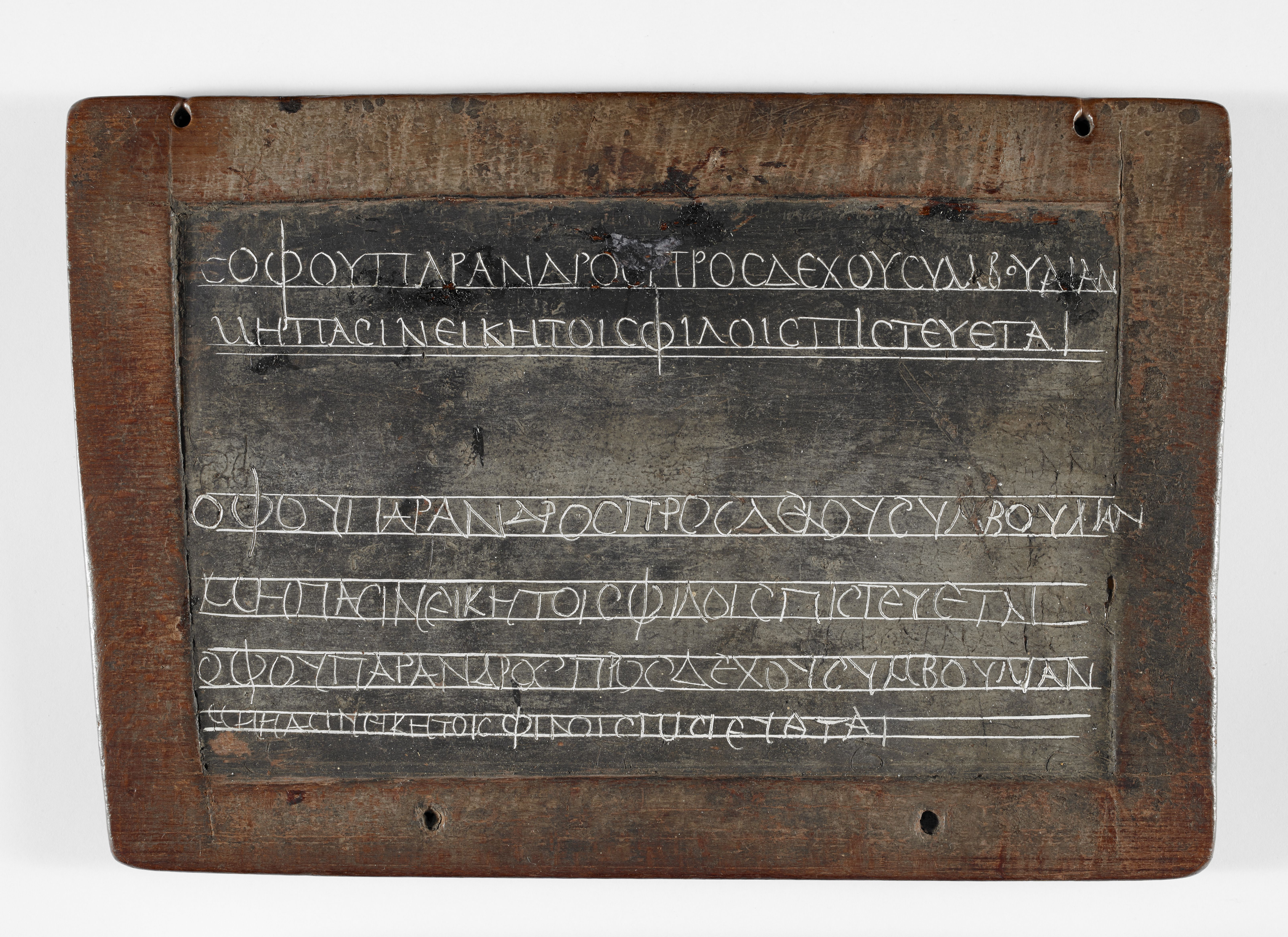Schoolchild's homework in Greek on a wax tablet, Egypt, 2nd century AD (c) British Library