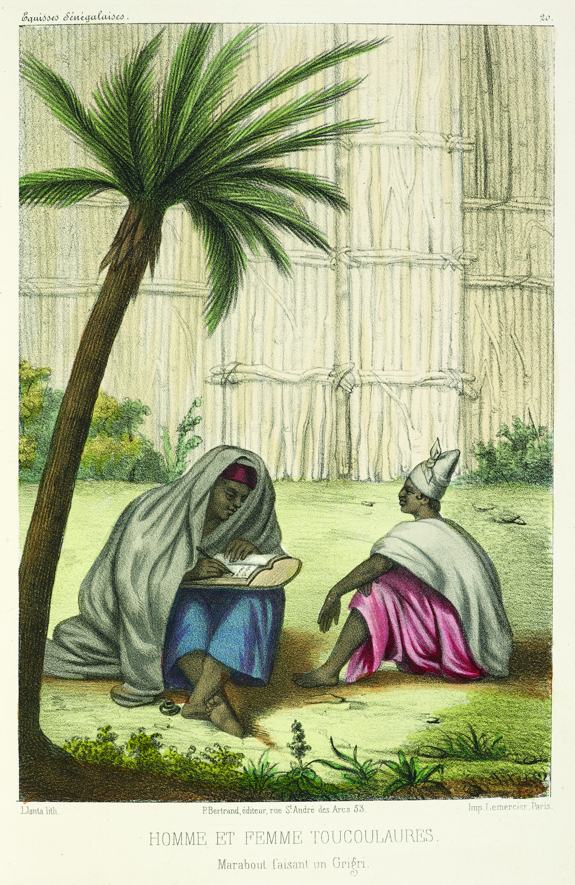 An illustration showing a marabout or Muslim religious leader writing an amulet for a widow, from P. D Boilat's Esquisses sénégalaises (1853), going on display in West Africa at the British Library. Photography courtesy of the British Library.