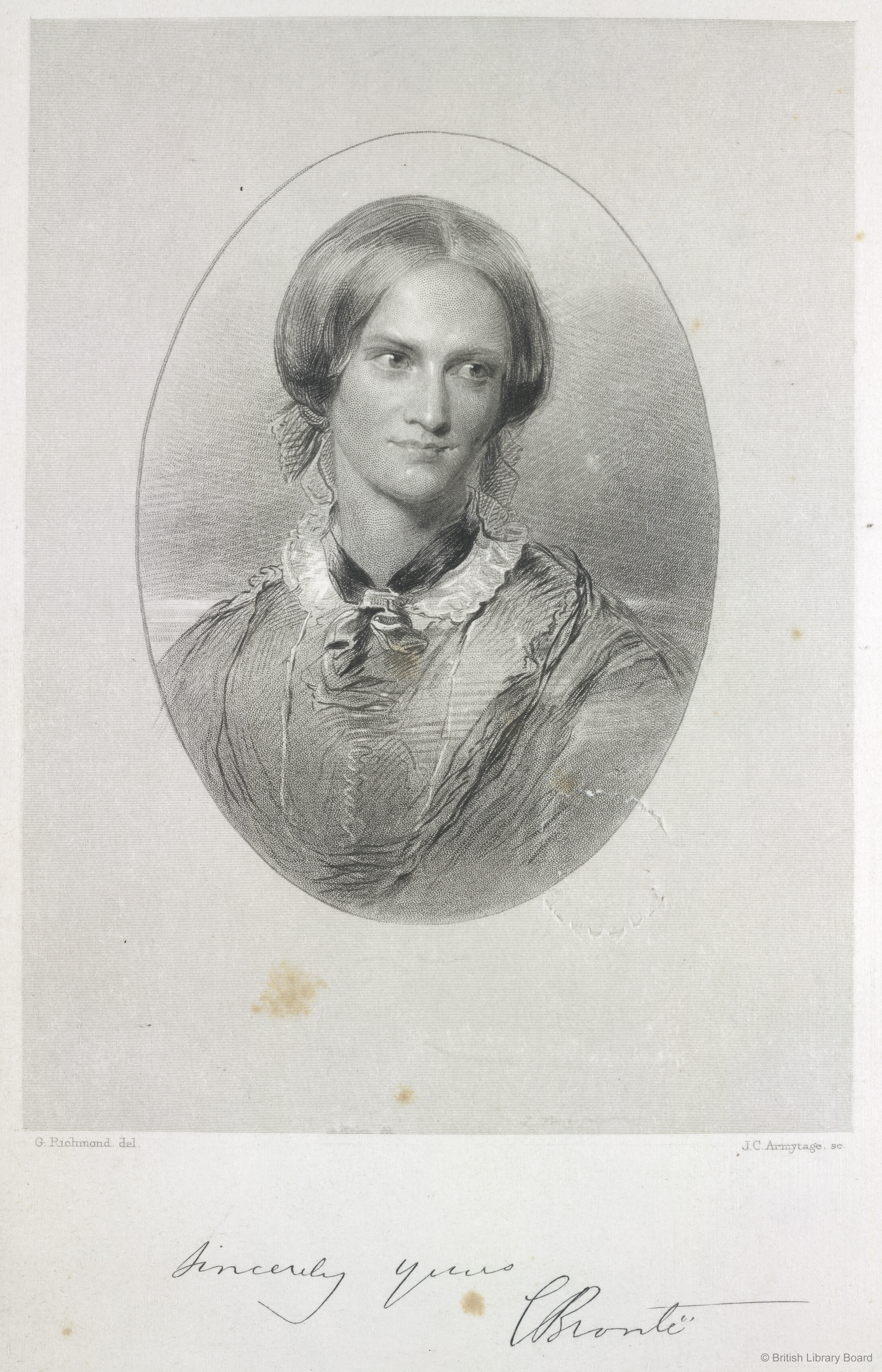 Portrait of Charlotte Brontë engraved by J. C. Armytage after George Richmond, 1857. British Library 1876.f.22.