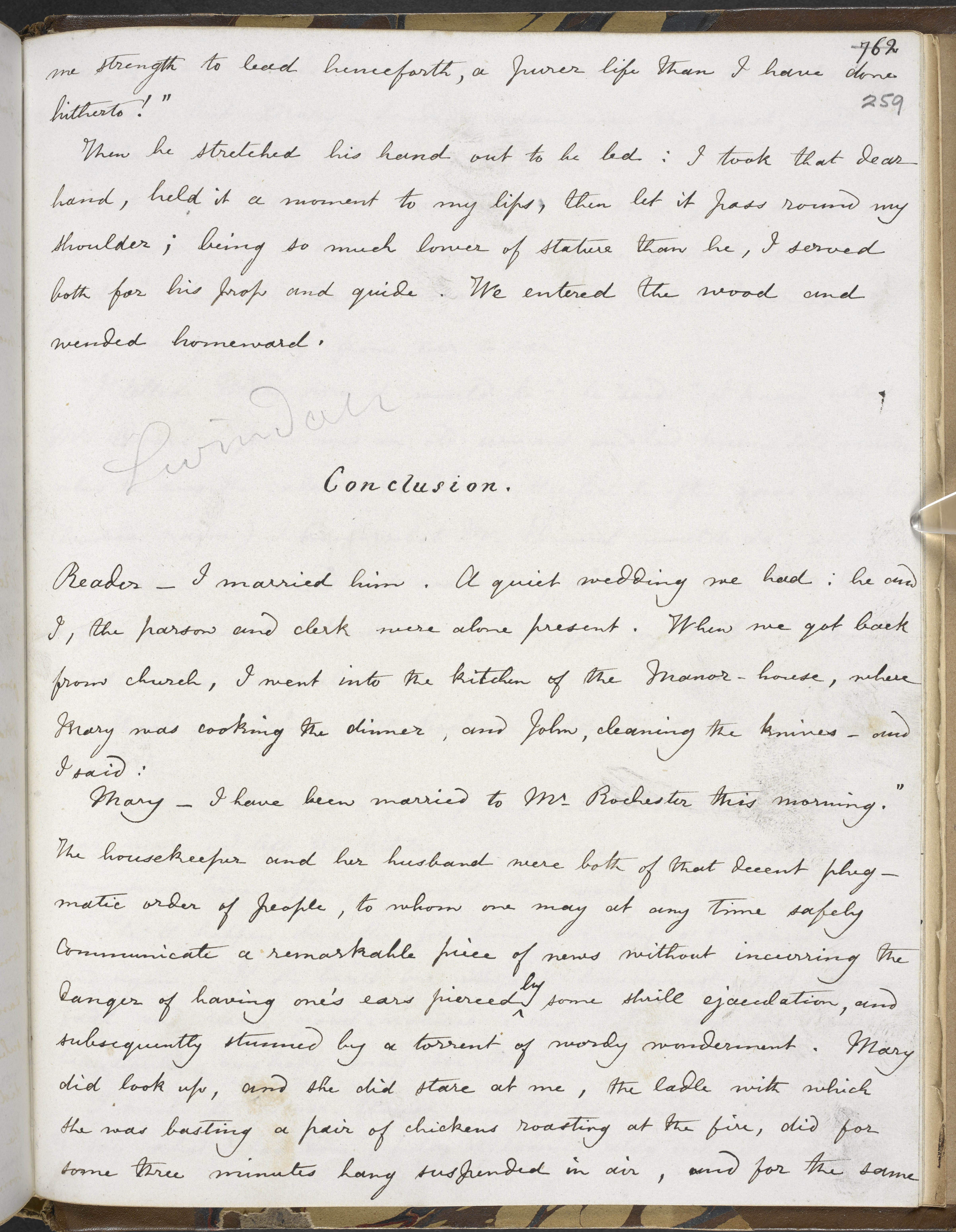 Conclusion of manuscript fair copy of Jane Eyre, volume III by Charlotte Brontë , 1847, British Library Add MS 43476, f 259r.