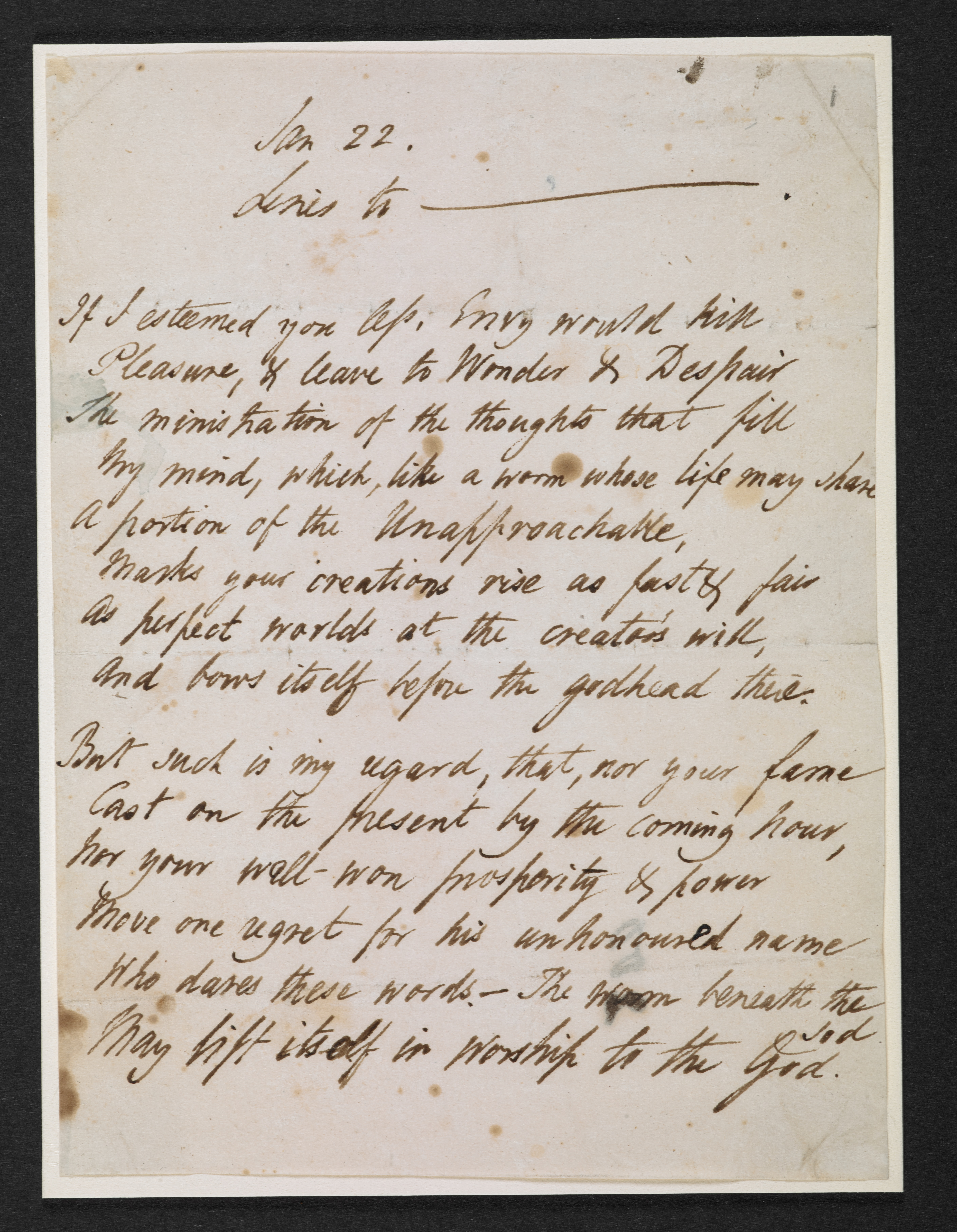 Manuscript of 'Sonnet to Byron' by Percy Bysshe Shelley, about 1821-22, British Library Zweig MS 188