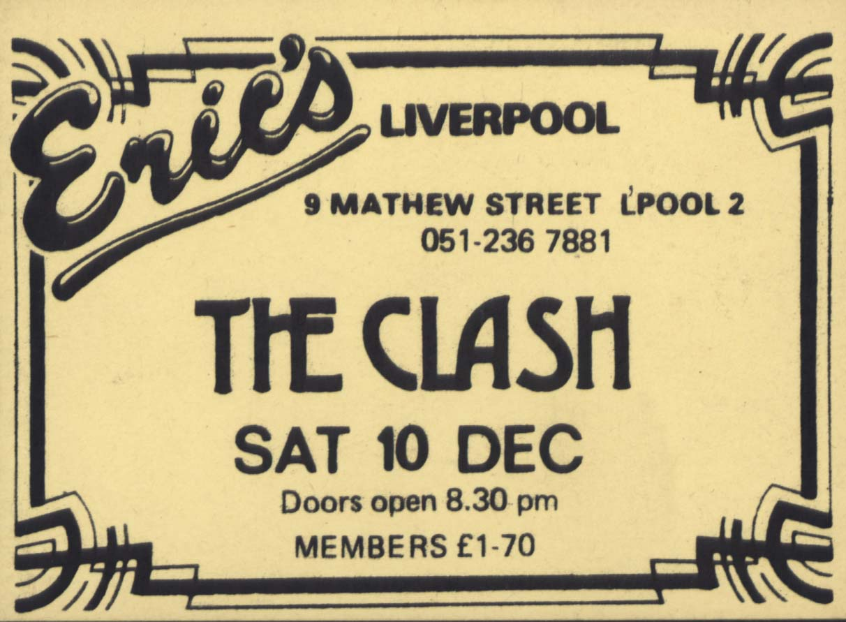 The Clash Eric's Club ticket, Liverpool (1976-1977) from The Pete Fulwell Archive held at Liverpool John Moores University