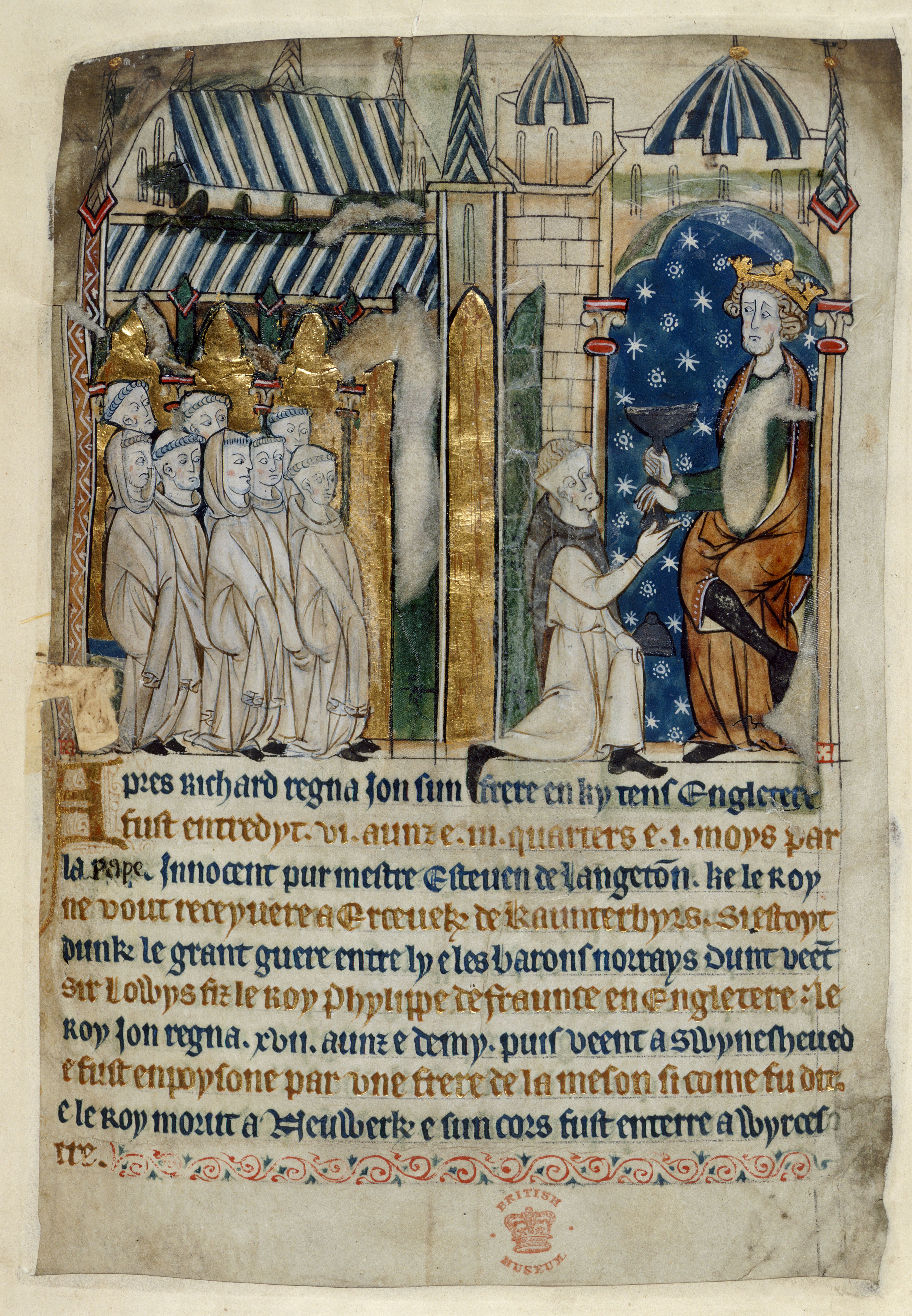 Miniature of the poisoning of King John, from a verse chronicle, C13, on display in Magna Carta: Law, Liberty, Legacy. Photography © British Library