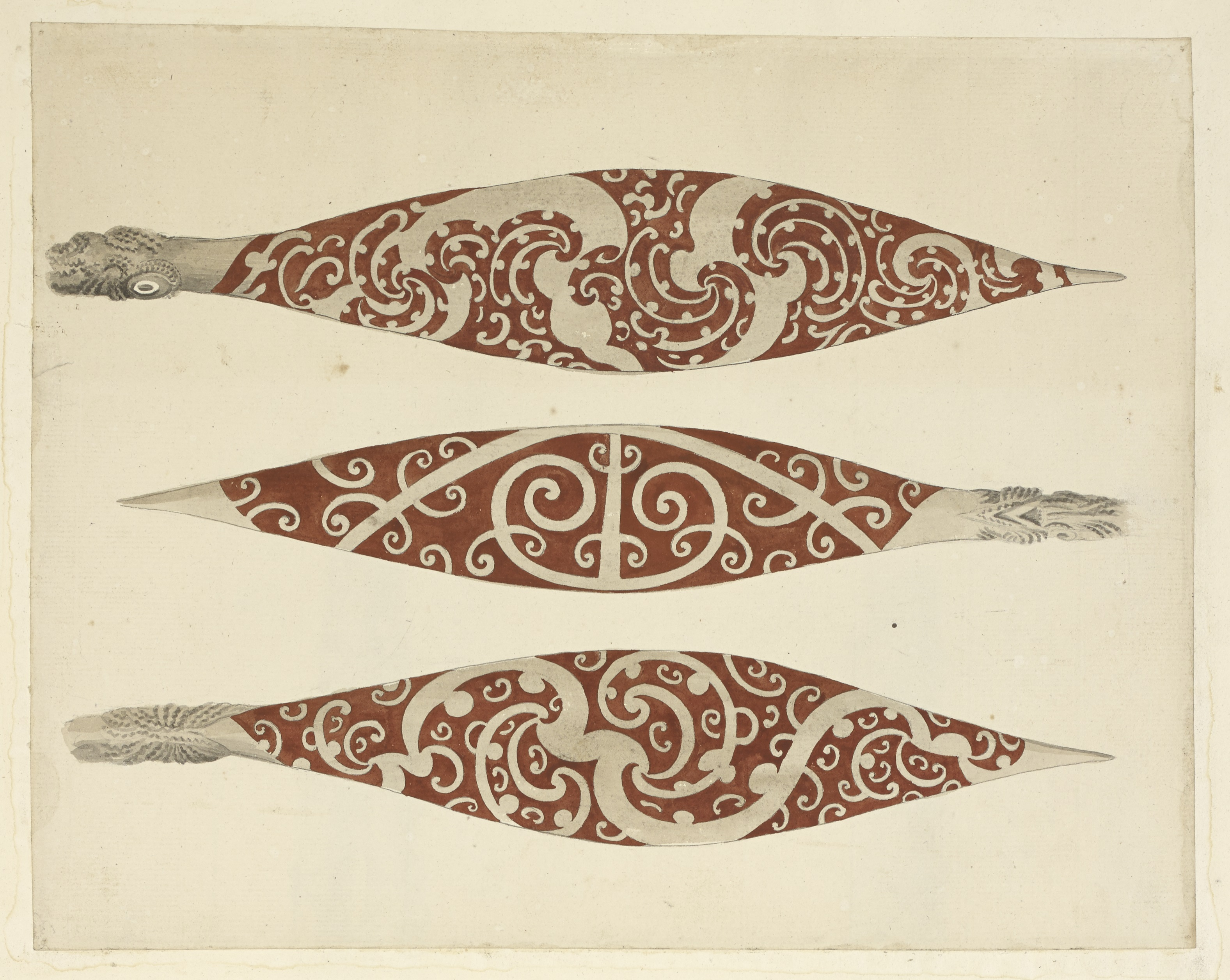 Three Paddles from New Zealand by Sydney Parkinson, 1769 (c) British Library Board