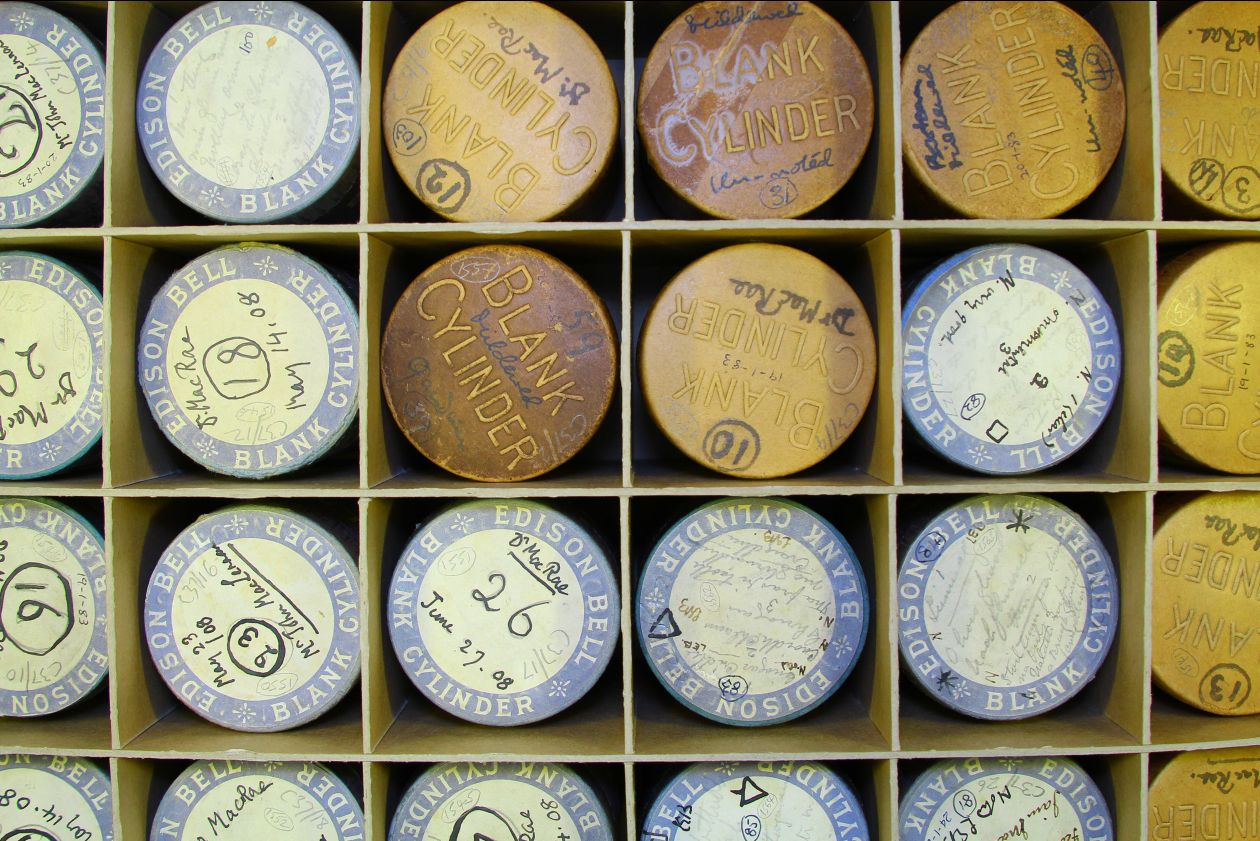Wax cylinder recordings in the British Library Sound Archive. Image copyright the British Library Board.