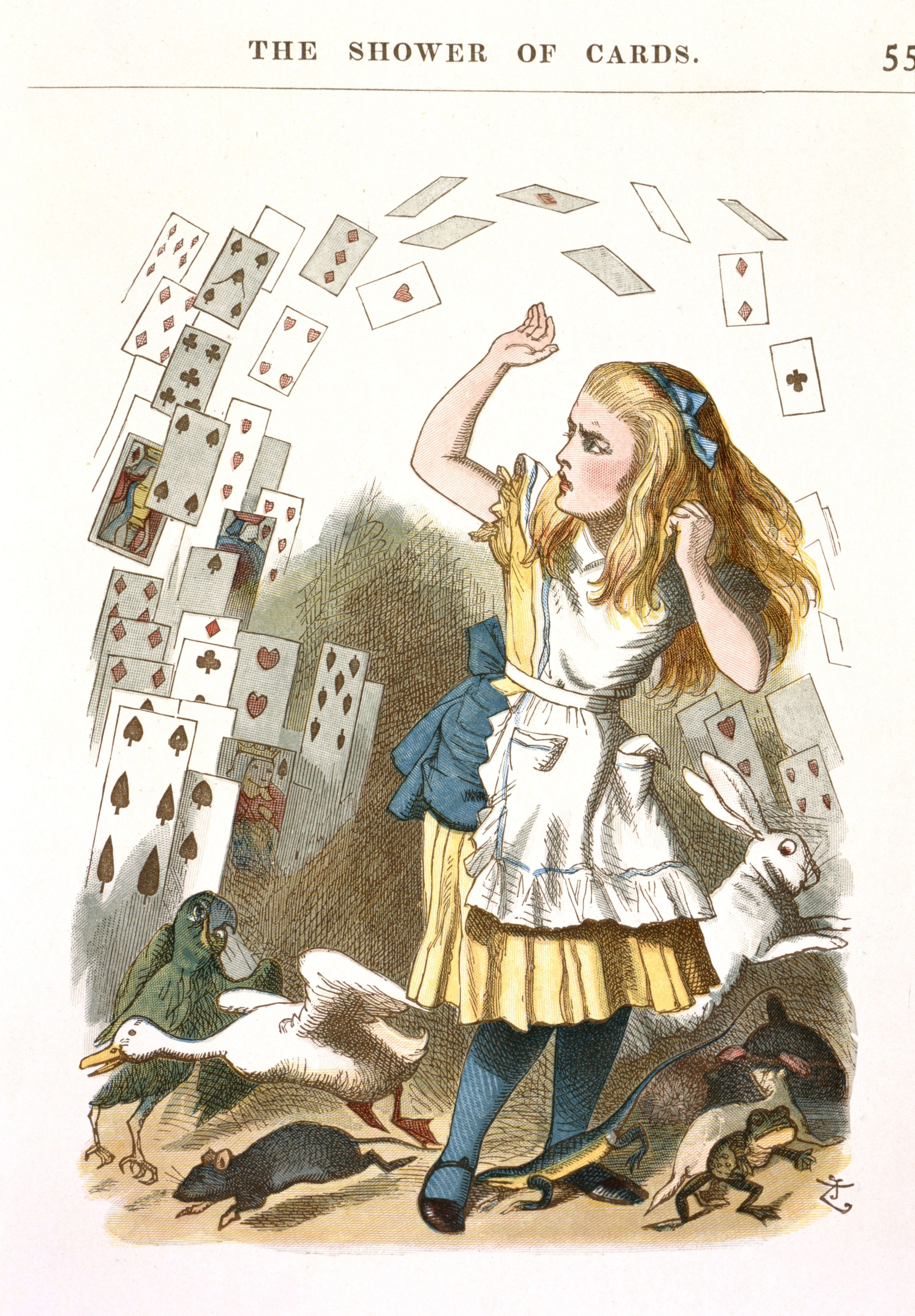 The Shower of Cards. Alice in Wonderland, from the colour illustrated Nursery Alice, 1890, illustrations John Tenniel, courtesy British Library