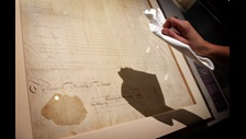 The Delaware copy of the US Bill of Rights on loan from the US National Archives in Magna Carta: Law, Liberty, Legacy. Photography © Clare Kendall