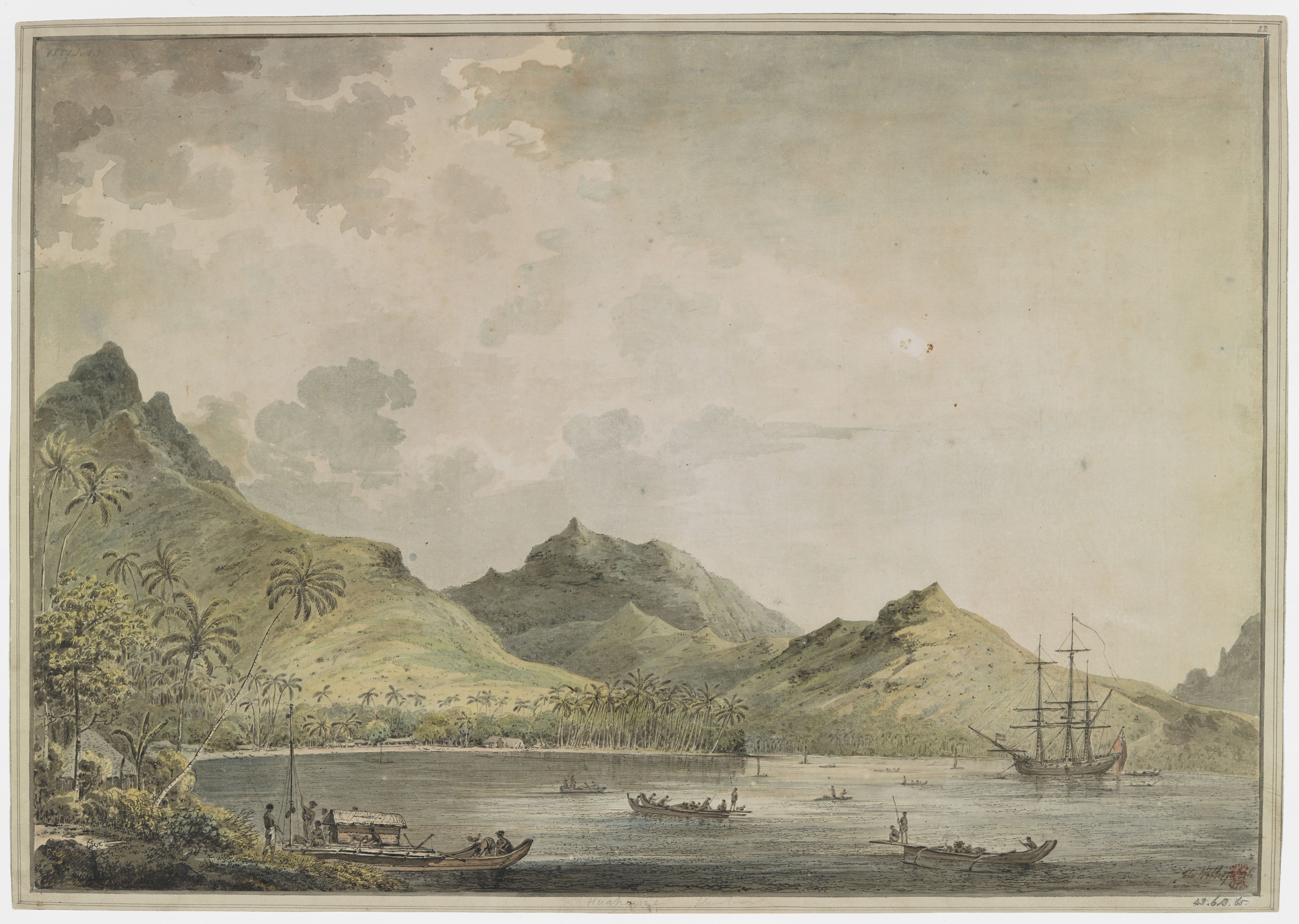 'View of the harbour of Huaheine' by John Webber, 1777