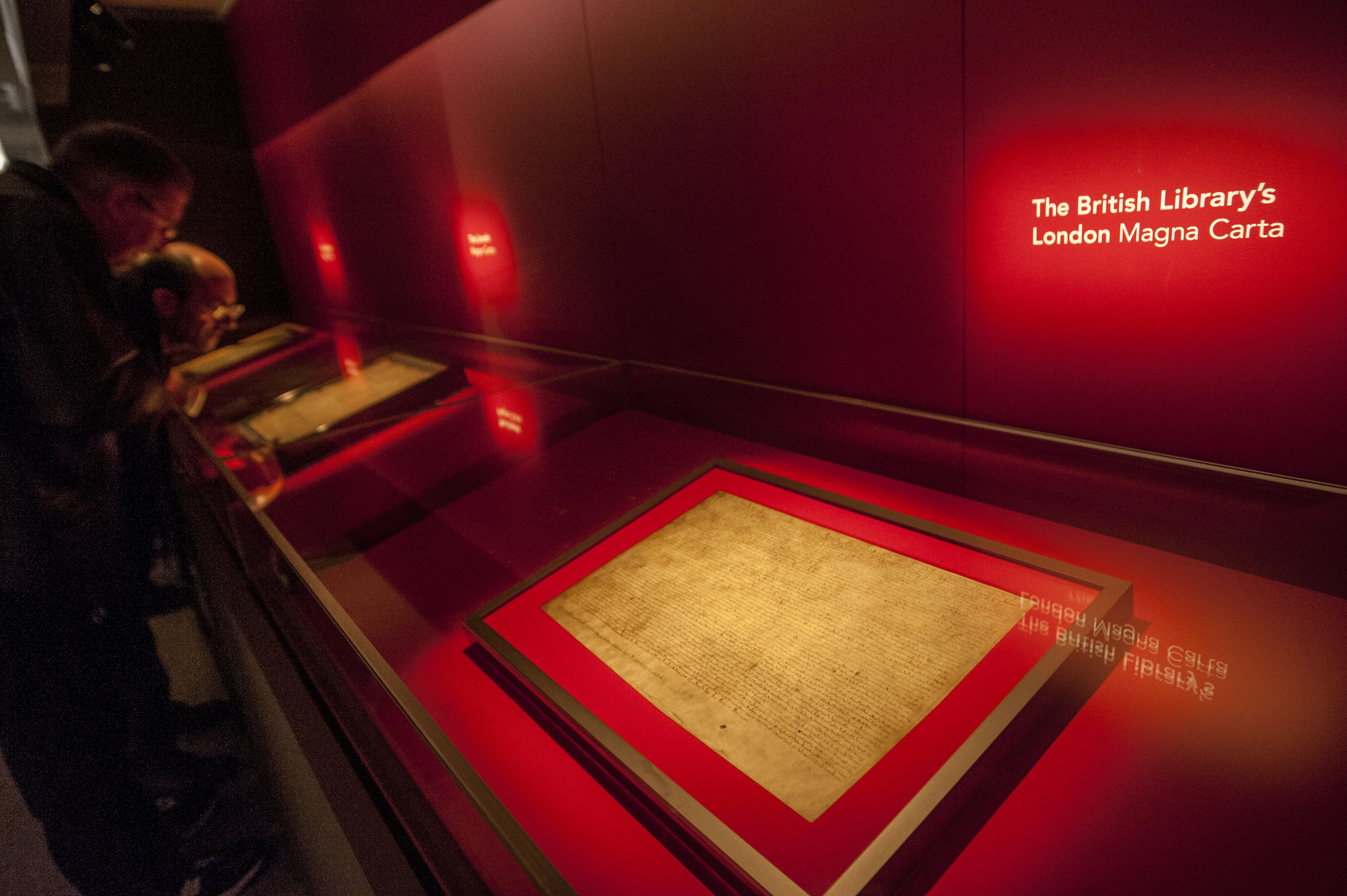 The British Library's 1215 London copy of the Magna Carta in the Magna Carta unification display at the British Library.