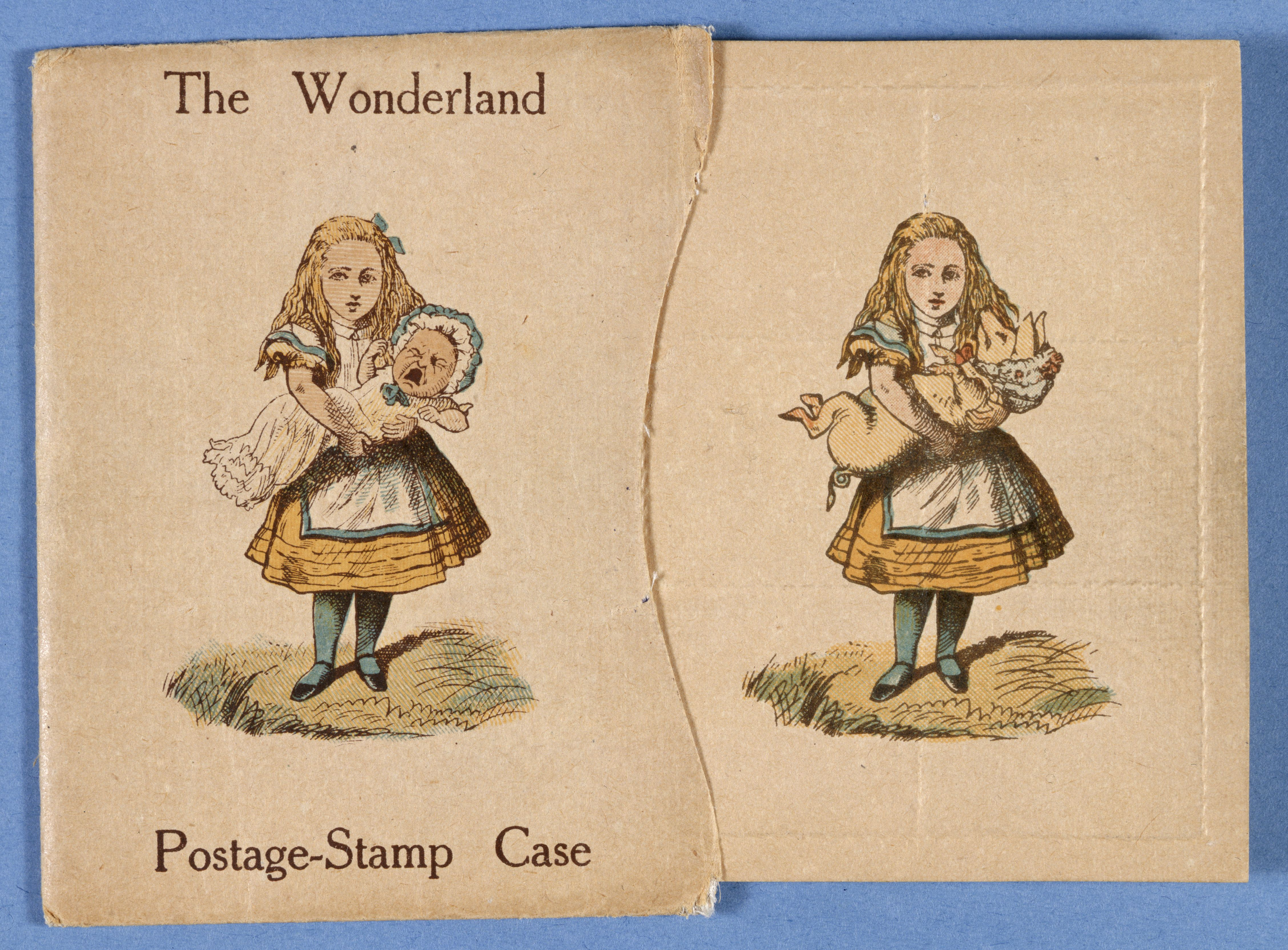 Printed illustration of Alice in yellow dress and blue stockings holding a baby, on the cover of 'The Wonderland Postage-Stamp Case'; insert shows printed illustration of Alice holding a pig