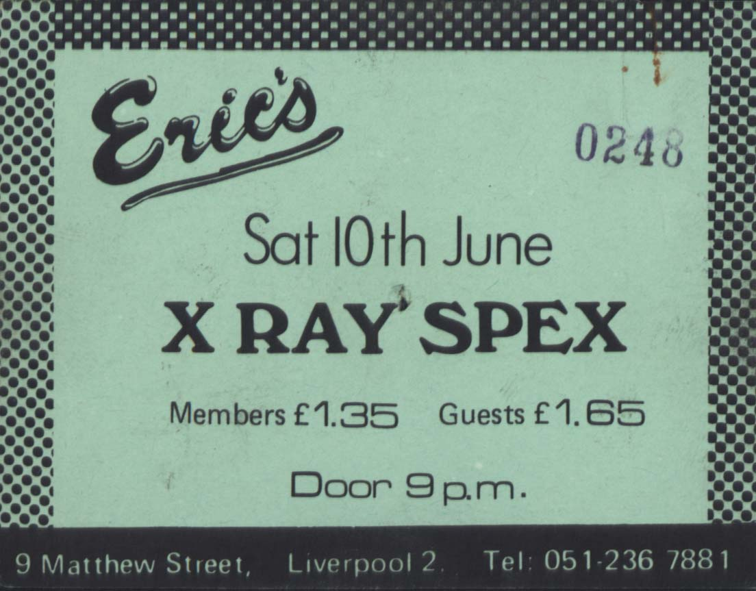 X Ray Spex Eric's Club ticket, Liverpool (1976-1977) from The Pete Fulwell Archive held at Liverpool John Moores University