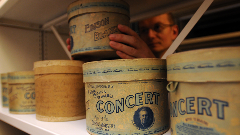 Edison Concert Cylinder in the British Library sound archive, containing aboriginal language recording made in Stevenson Creek, South Australia, by Baldwin Spencer, 1901. Photo by Clare Kendall.