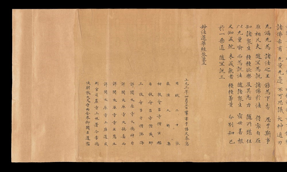 End piece of a Chinese lotus sutra scroll (Shelfmark: Or.8210/S.2181)