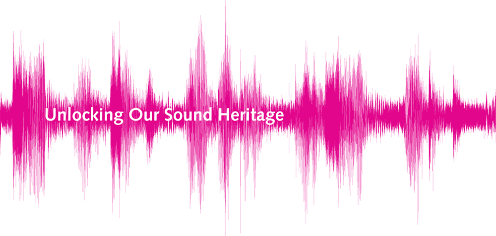 Compressed magenta sound-wave graphic. Logo for Unlocking Our Sound Heritage.