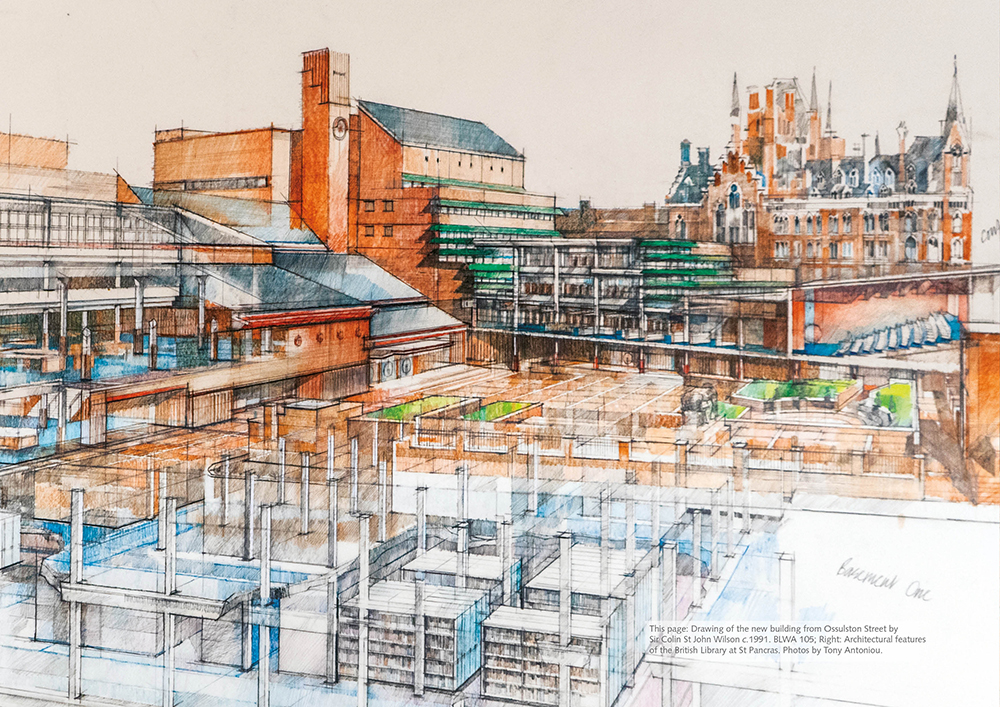 Drawing of the new building from Ossulston Street by Sir Colin St John Wilson c.1991