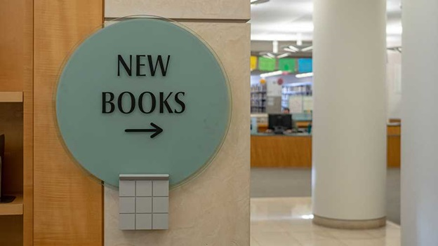 "A sign saying ""New books"""