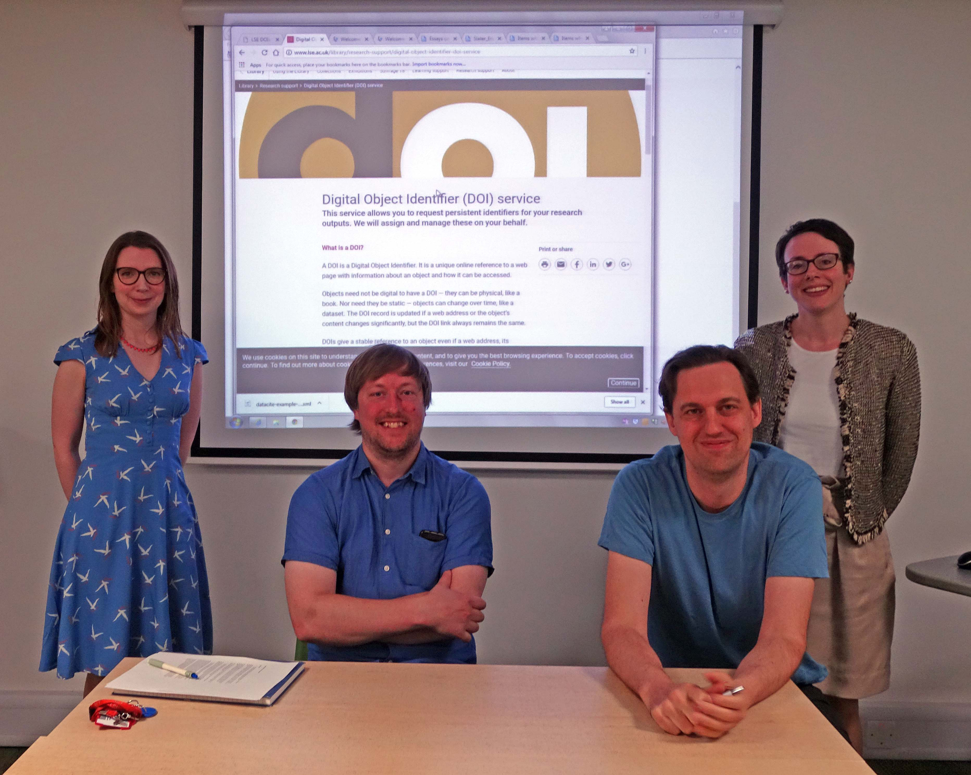 Clare Mulhall (Digital Library Assistant), Neil Stewart (Digital Library Manager), Laurence Horton (Data Librarian), and Nancy Graham (Research Support Manager)
