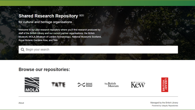 Screenshot of British Library Shared Research Repository homepage