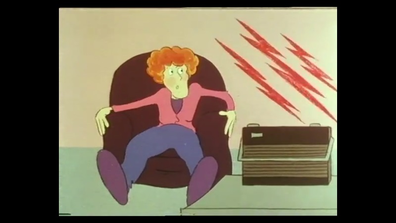 Animation still showing woman sat in sofa chair next to blaring radio, from Give us a smile