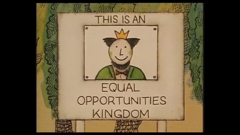 Animation still of sign reading 'This is an equal opportunities kingdom' with picture of crowned king, from Through the glass ceiling